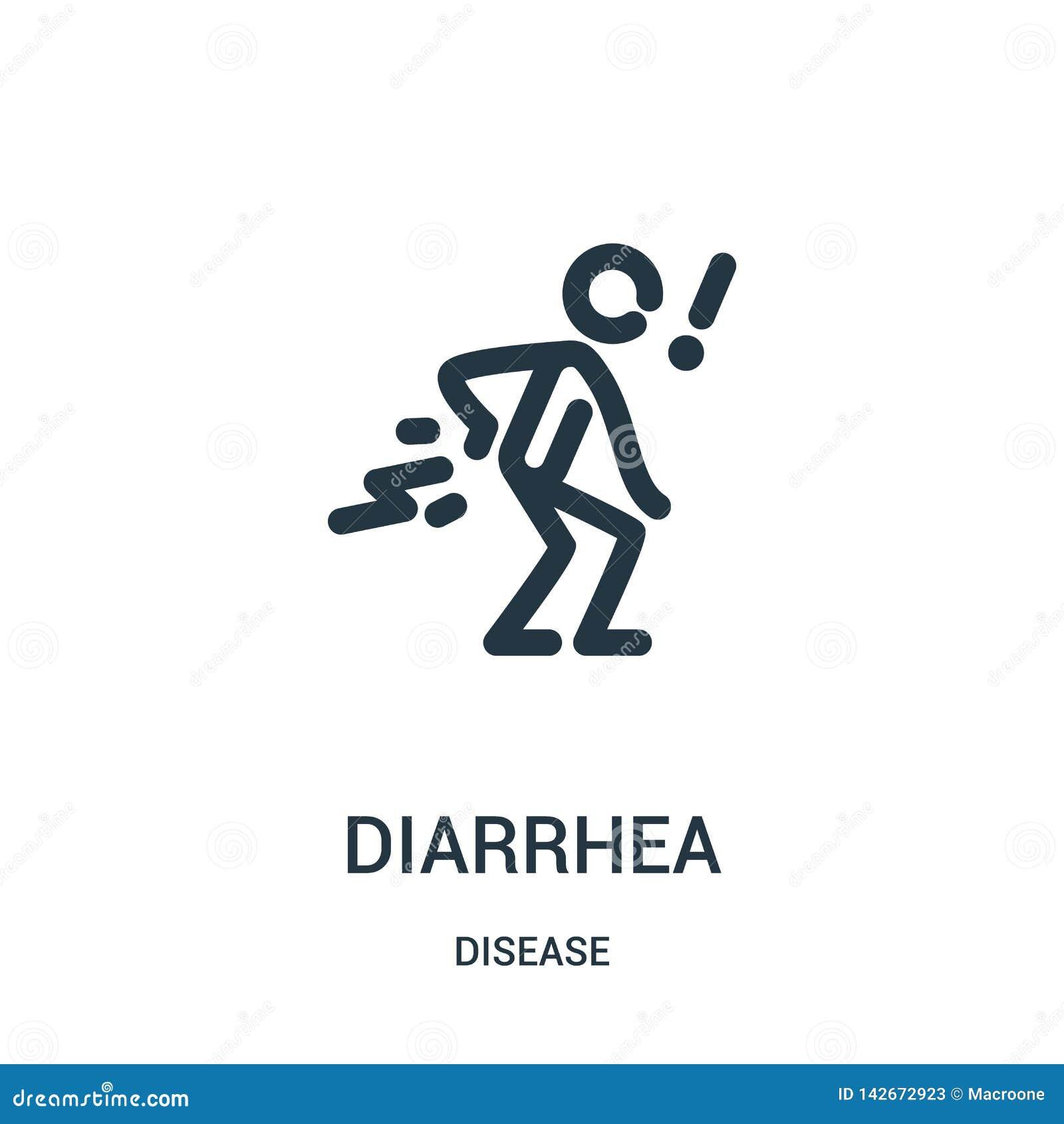 Diarrésymbolsvektor från sjukdomsamling Tunn linje illustration för vektor för diarréöversiktssymbol Linjärt symbol för bruk på r