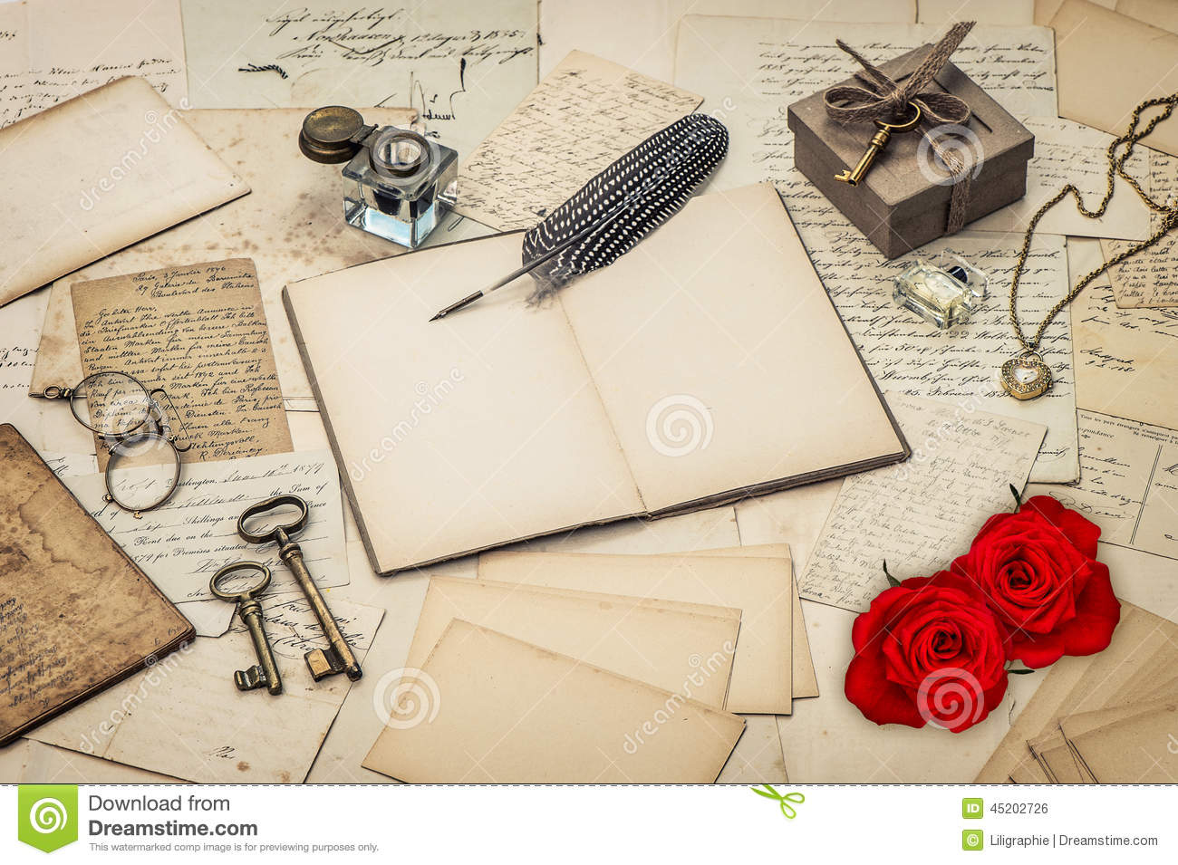 diary book old love letters and red rose flowers royalty free stock image