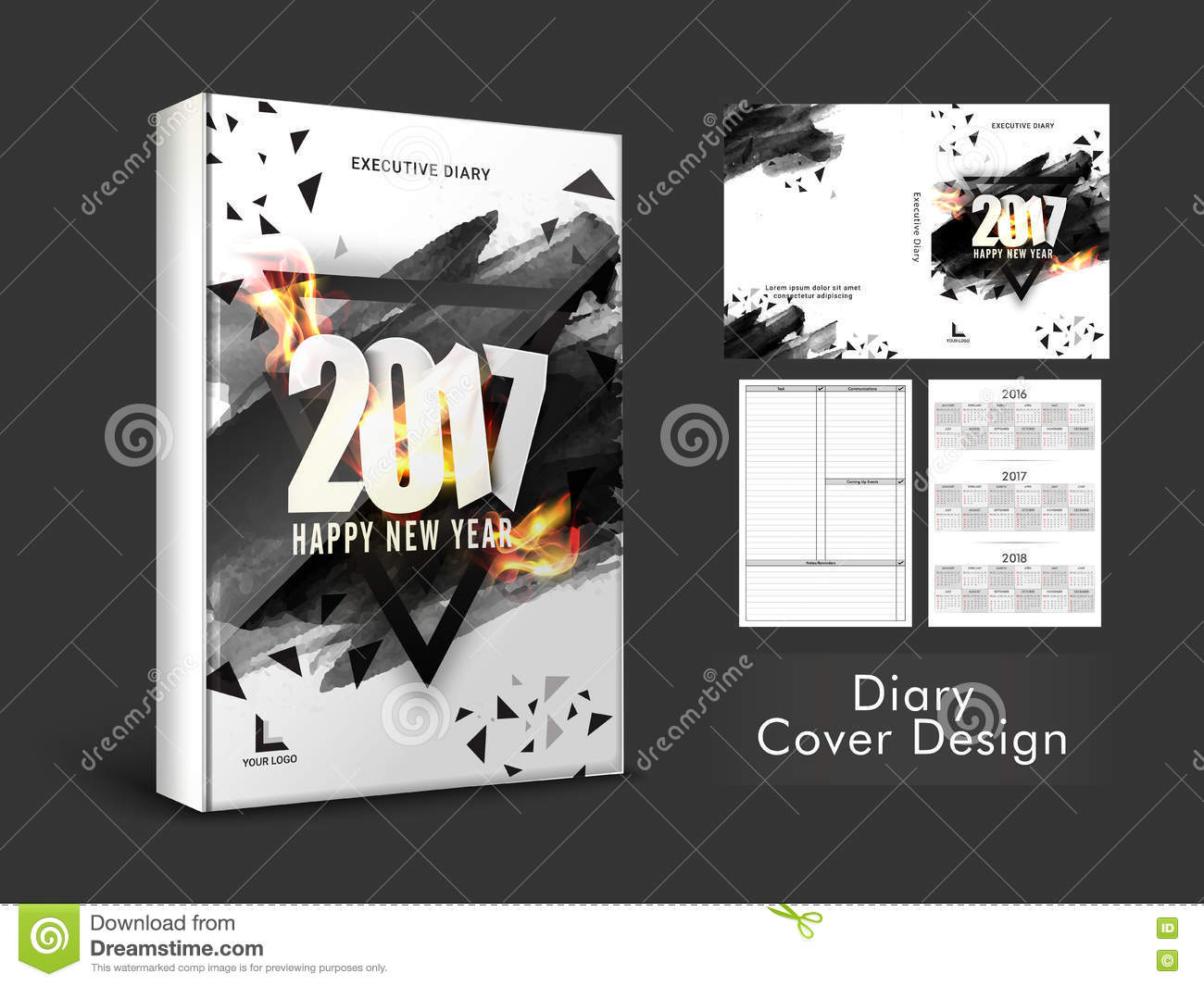 Diary Book Cover Design : Diary cover design for new year stock illustration