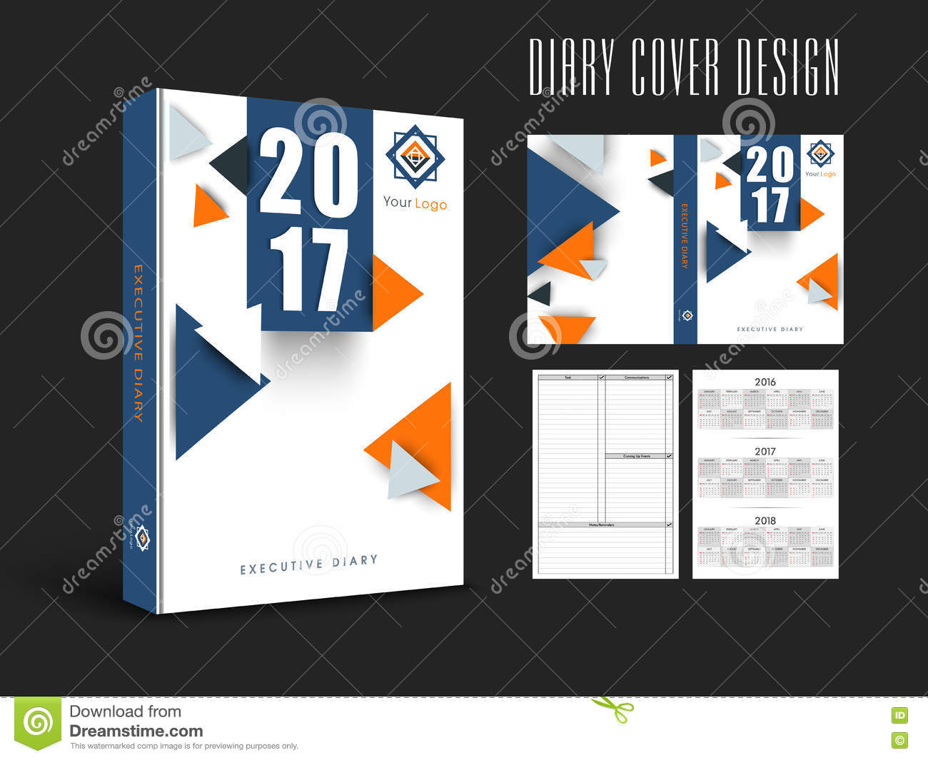 Diary Book Cover Design : Diary cover design or template layout stock illustration