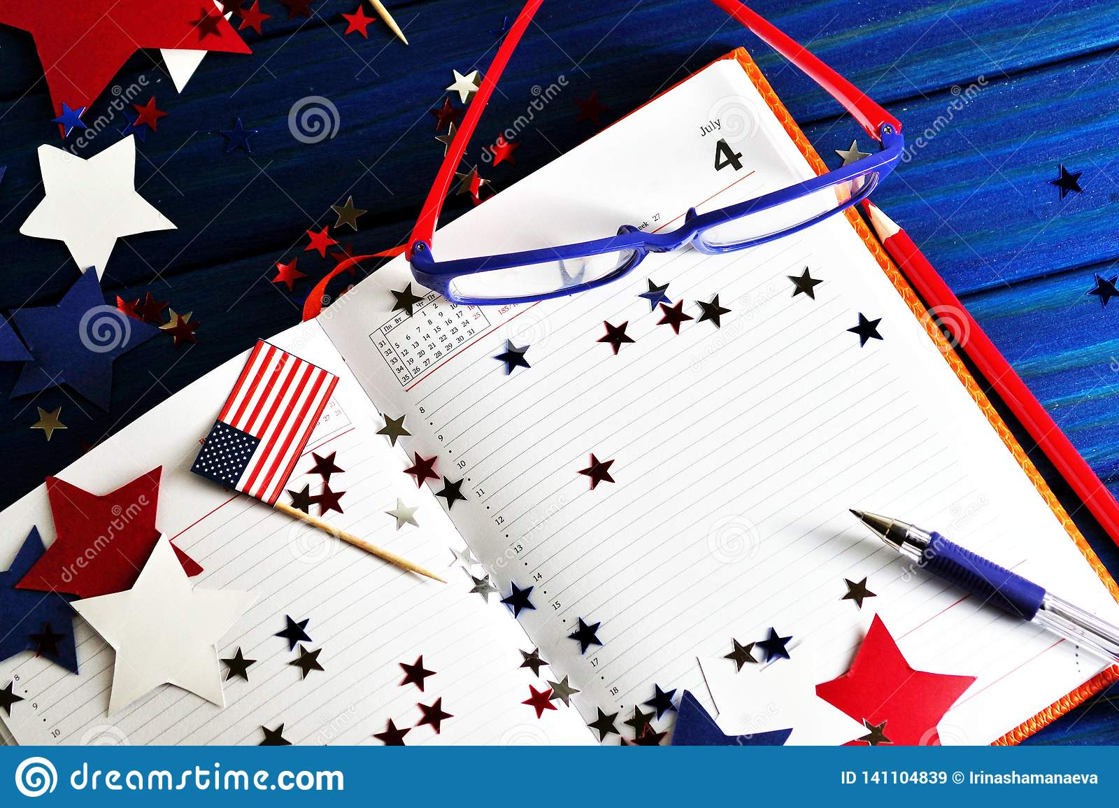 Diary with glasses open on the date of July 4, happy independence day, patriotism and memory of veterans