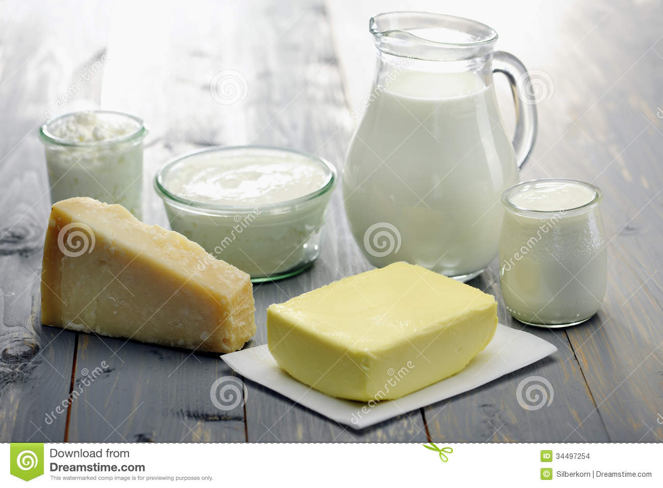 Diary products milk cheese ricotta yogurt and butter