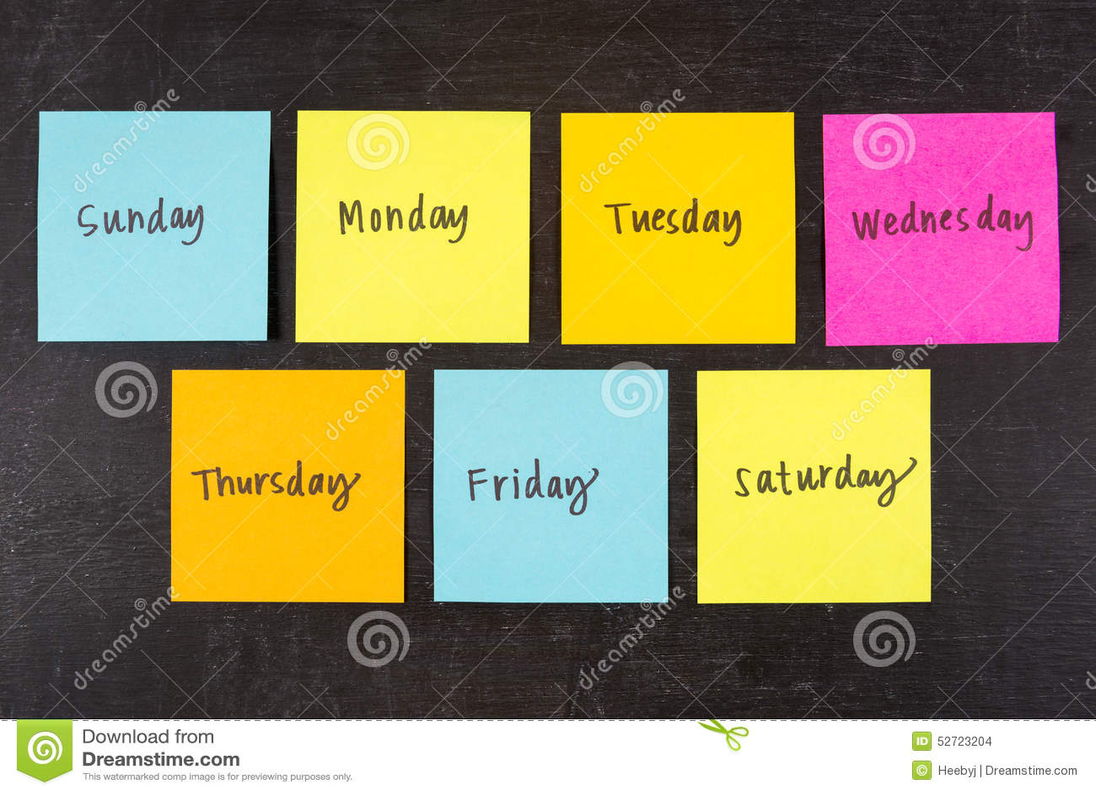 Dias de notas da vara da semana