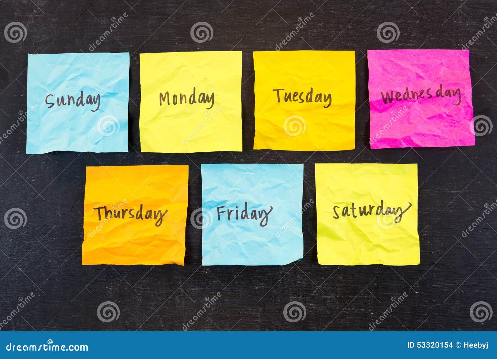 Dias de notas pegajosas da semana