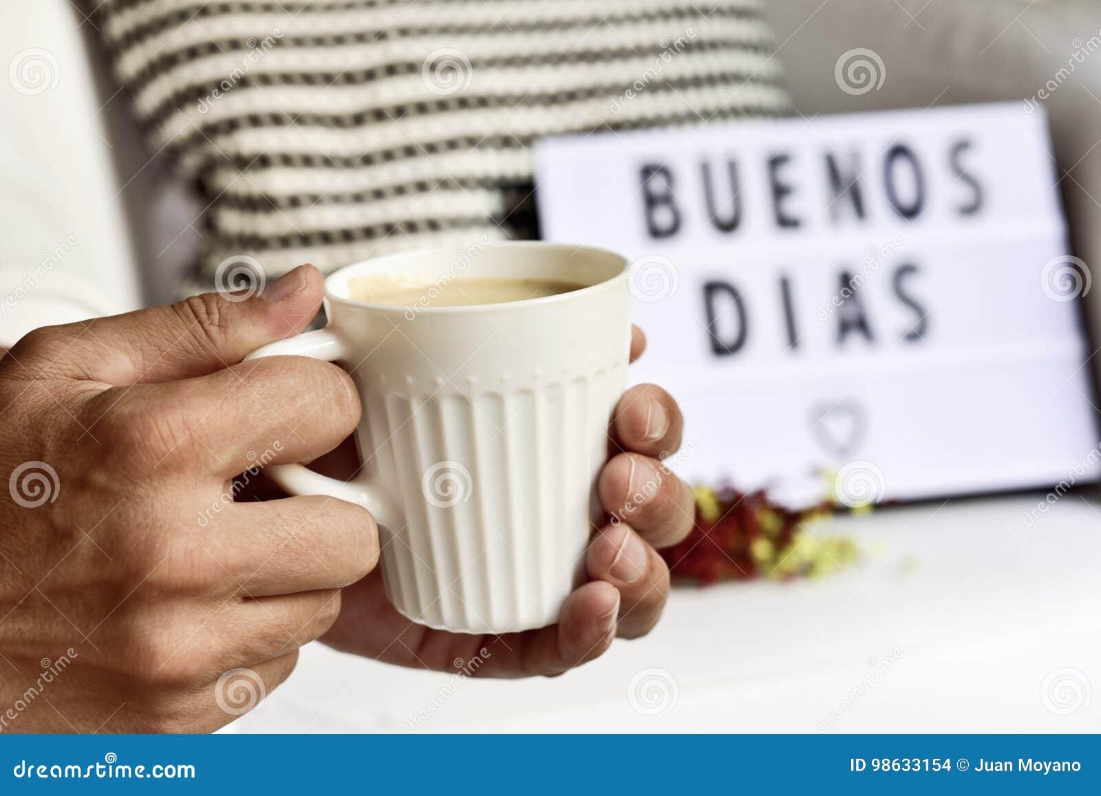 Dias dos buenos do texto, bom dia no espanhol