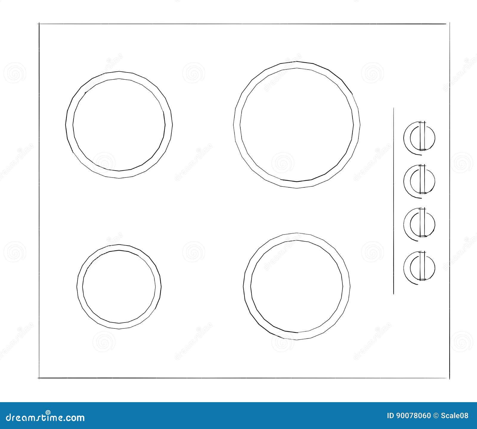 Dibuje A Lápiz El Dibujo De Bosquejo De Construido En Cocina De ...