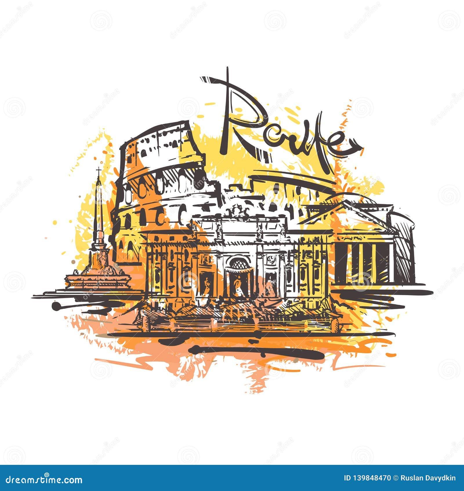 Dibujo abstracto del color de Roma Vector del bosquejo de Roma