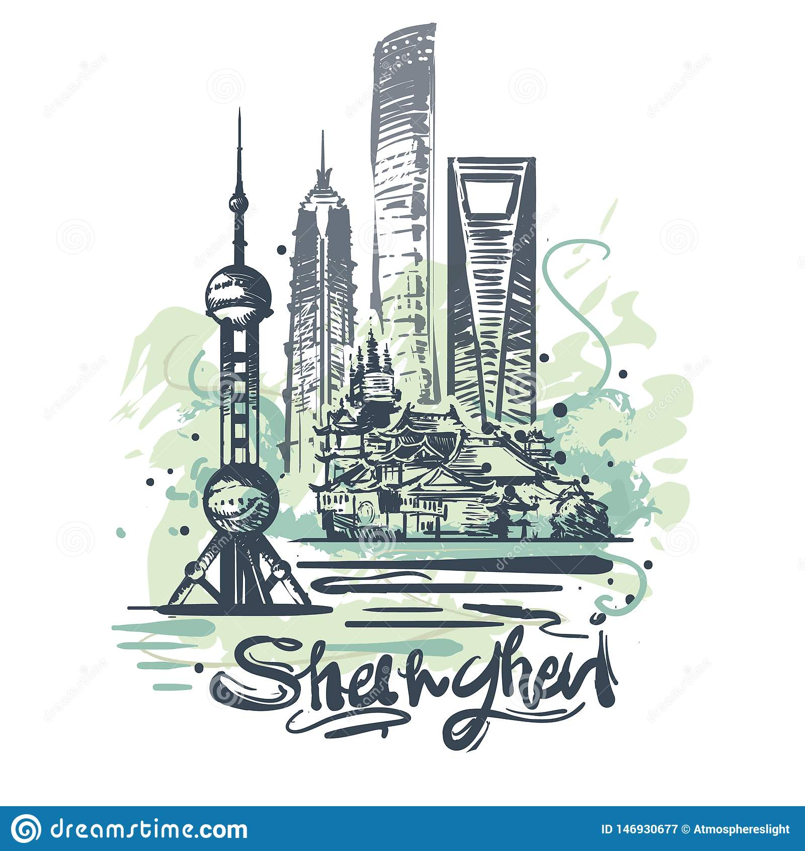 Dibujo abstracto del color de Shangai Ejemplo del vector del bosquejo de Shangai