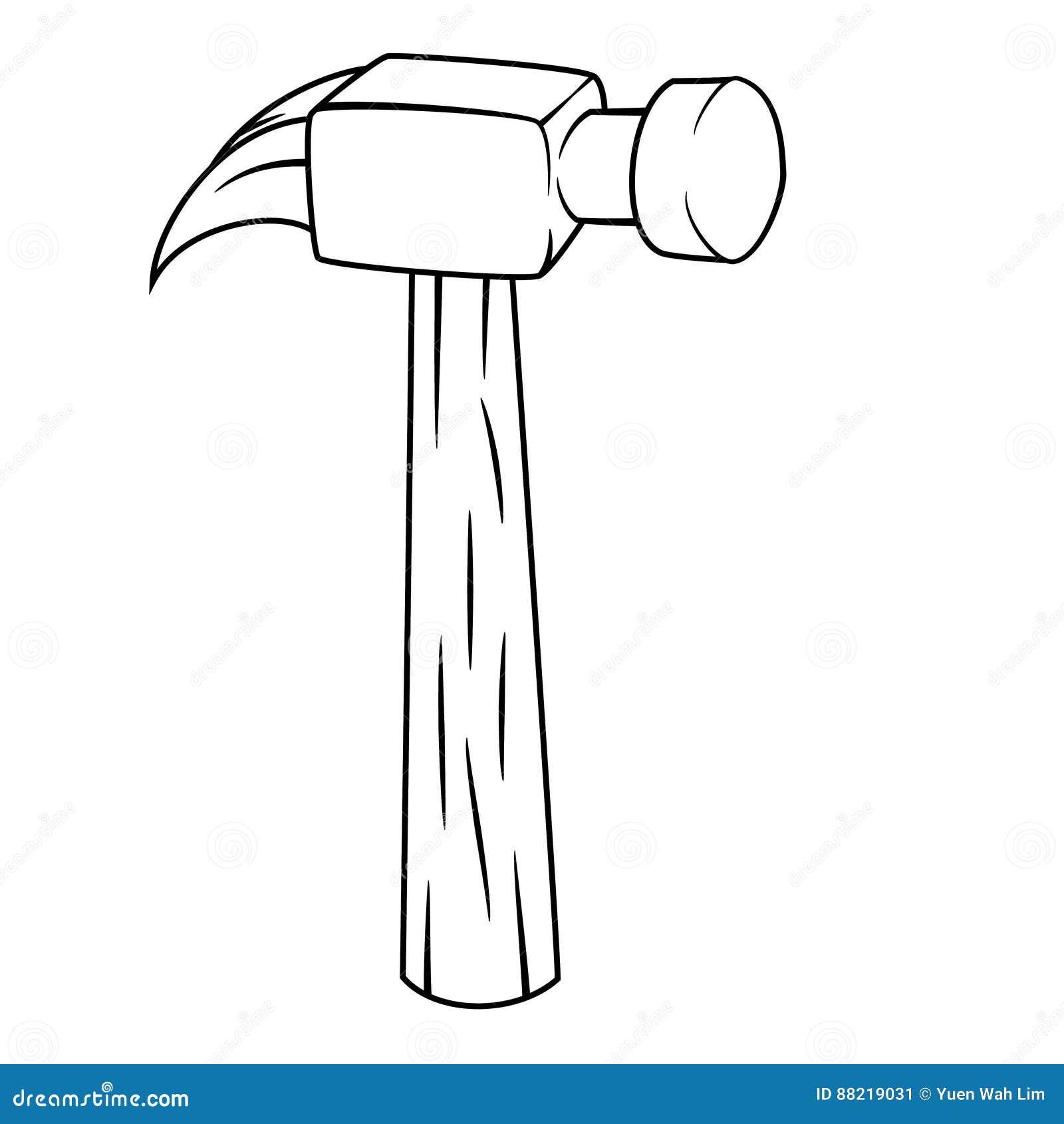Dibujo aislado de la historieta del martillo ilustraci n - Dessin de marteau ...
