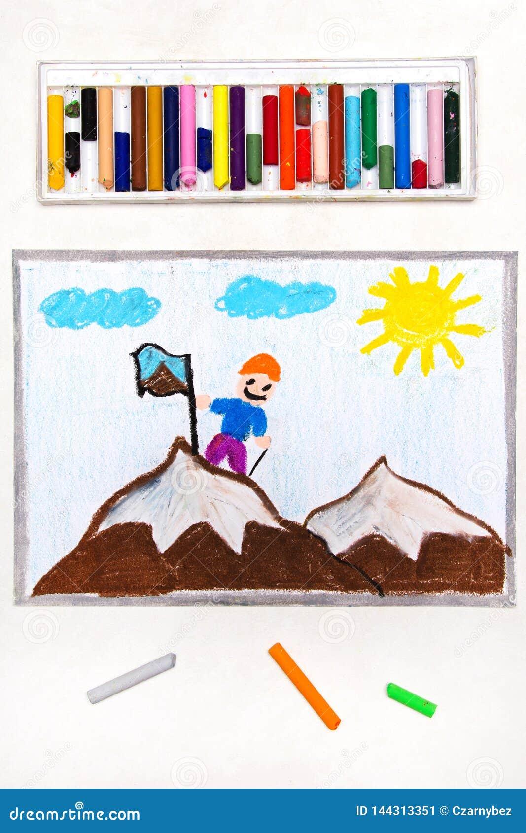 Dibujo: Alcanzar la cumbre de una montaña