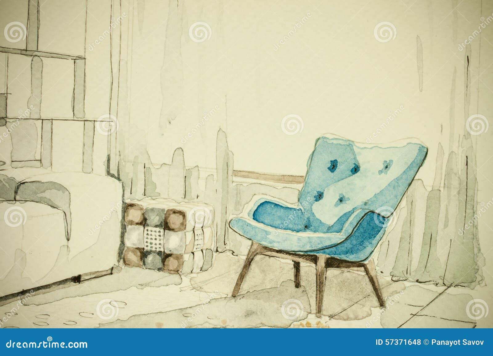 Dibujo Arquitect Nico De La Perspectiva A Pulso Del Bosquejo De La  # Muebles Dibujo Arquitectonico