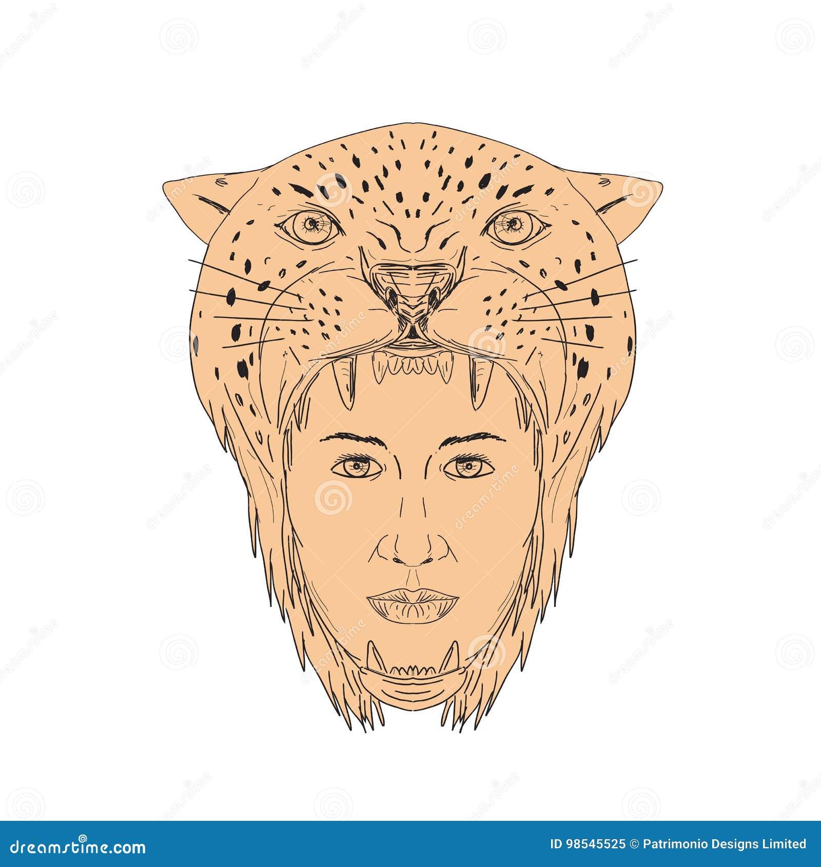 Dibujo Azteca Femenino Del Tocado De Jaguar Del Guerrero Ilustración del  Vector - Ilustración de aztec, mexicano: 98545525