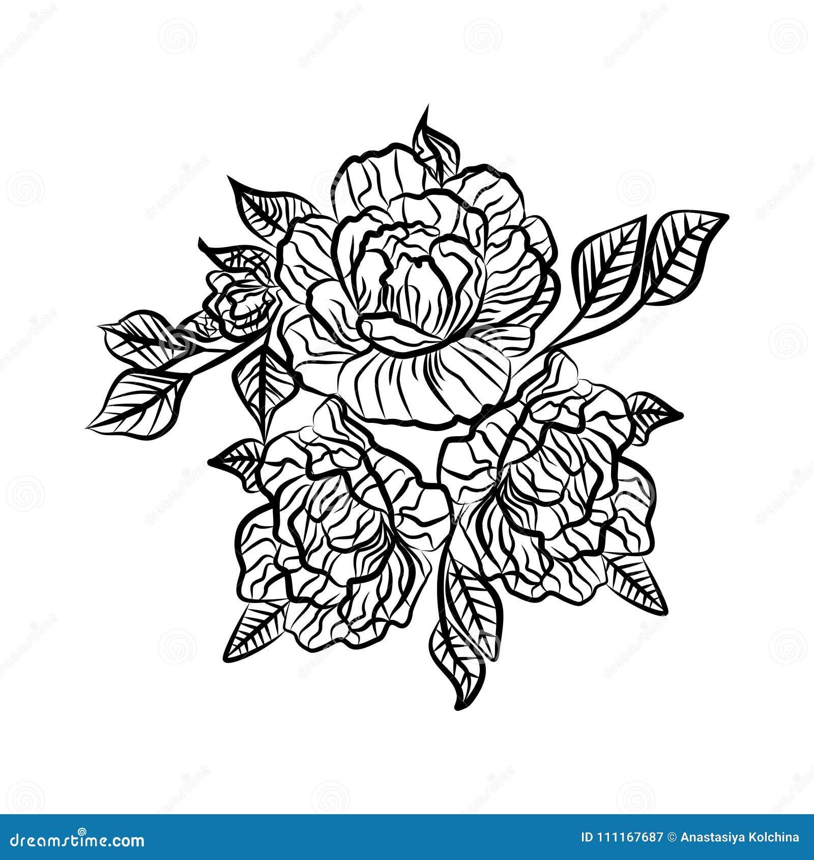 dibujo blanco y negro de un tatuaje de la rosa silueta de la rama