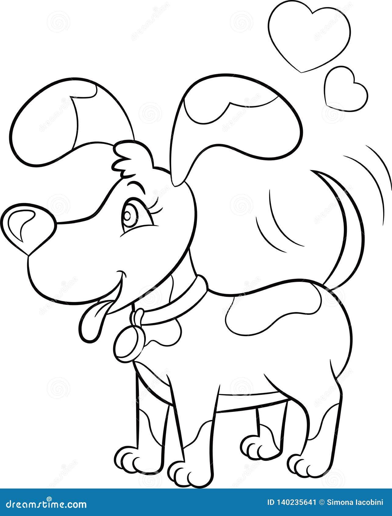 Dibujo Blanco Y Negro Del Kawaii De Un Pequeño Perro Con Los