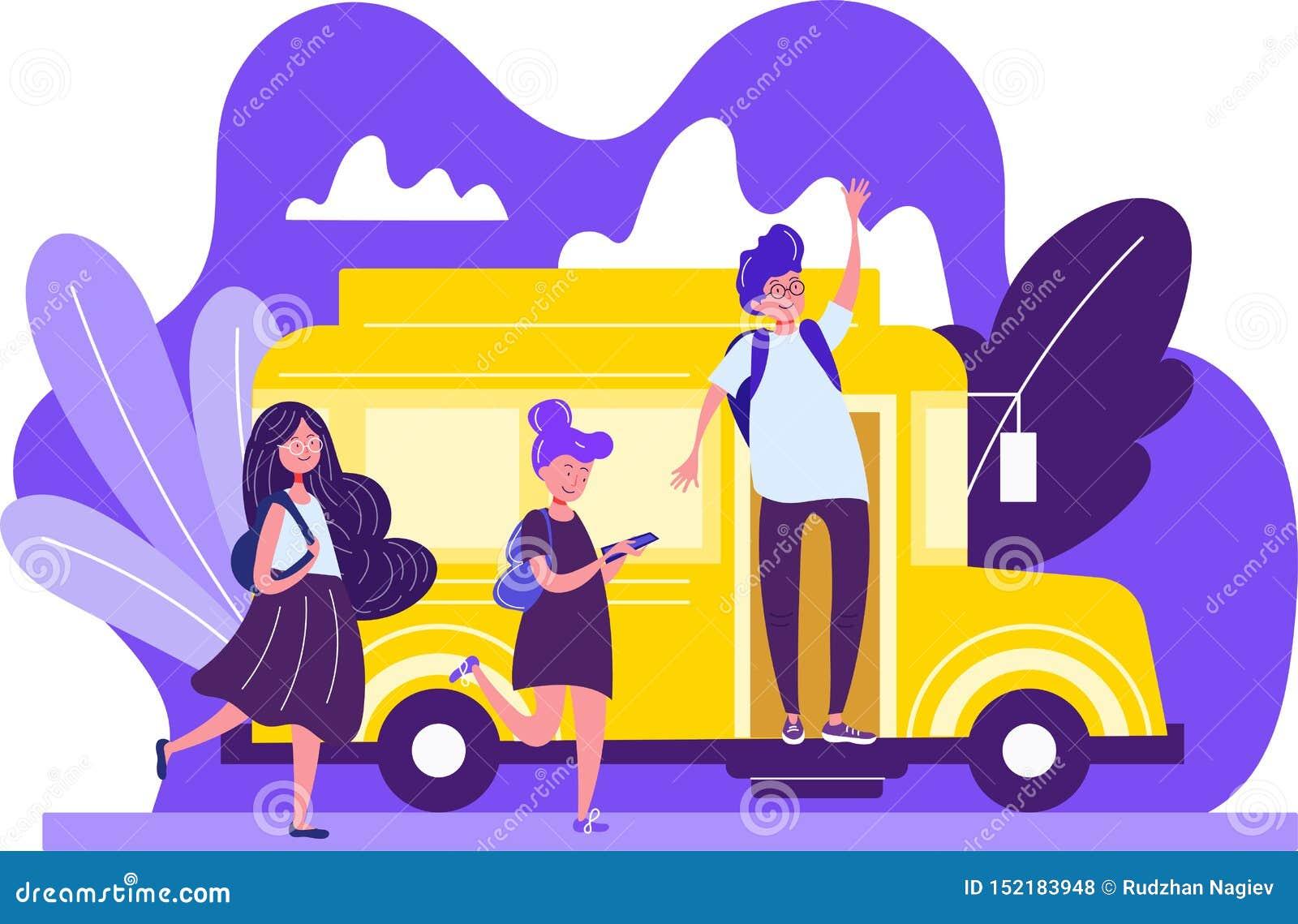 Dibujo colorido de alumnos en un autobús amarillo brillante con un hombre joven