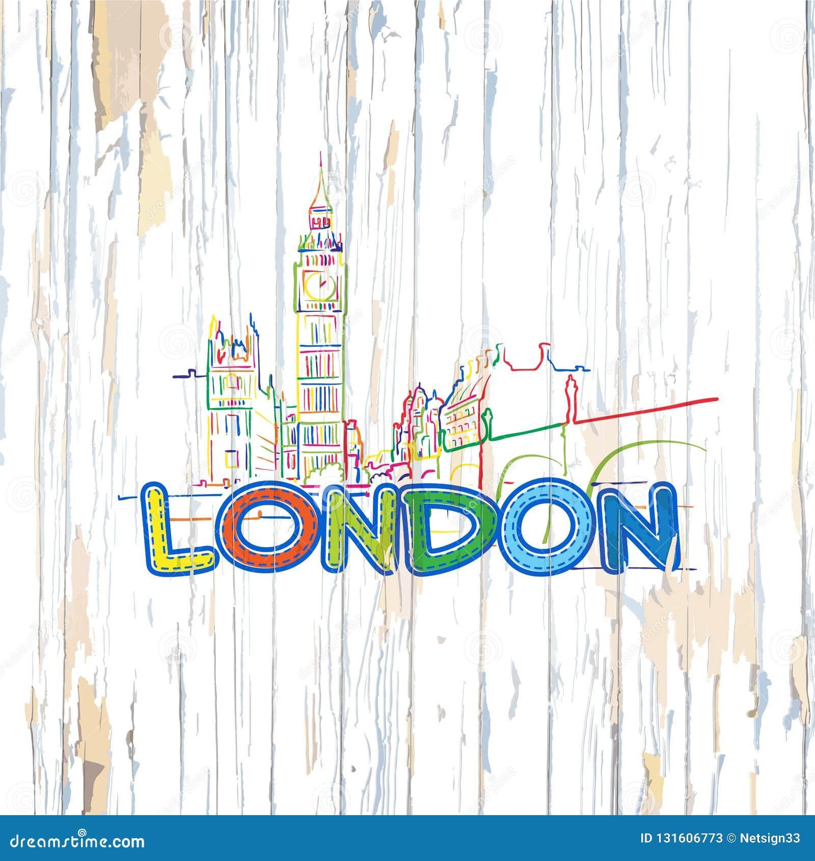 Dibujo colorido de Londres en fondo de madera