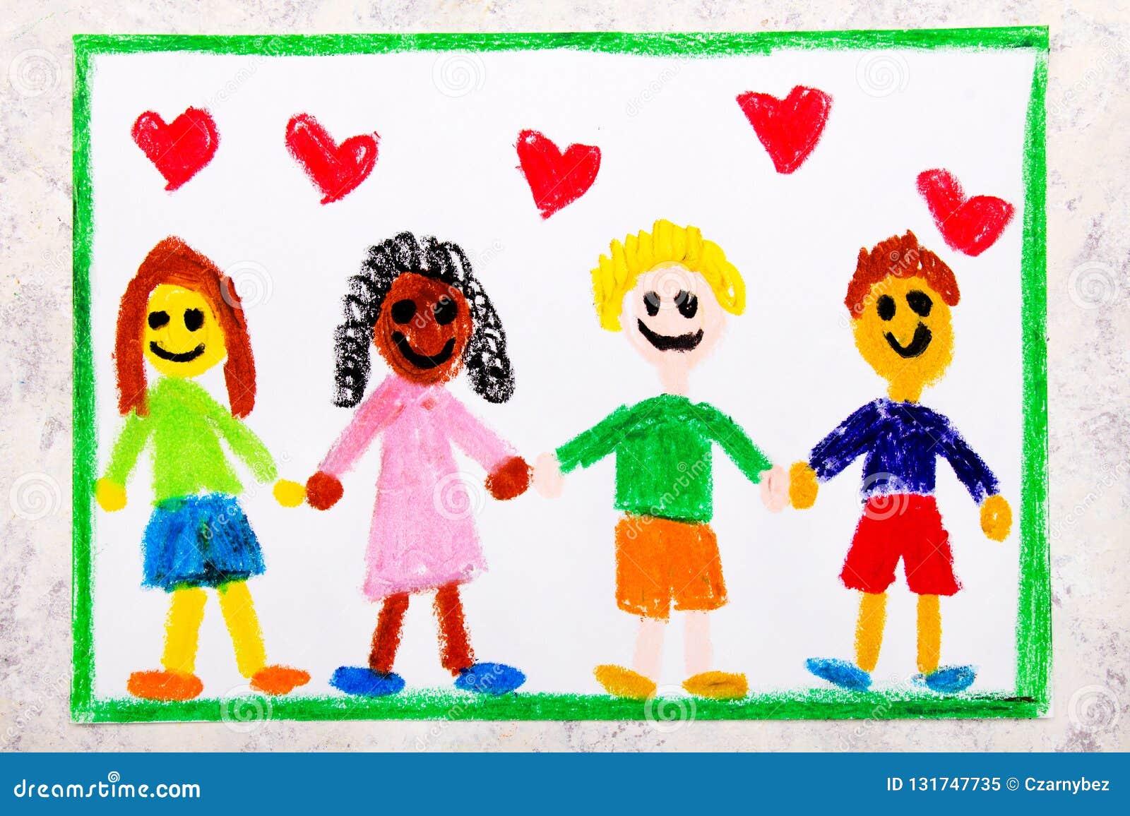 Dibujo Colorido Un Grupo De Amigos Internacionales Felices Stock De