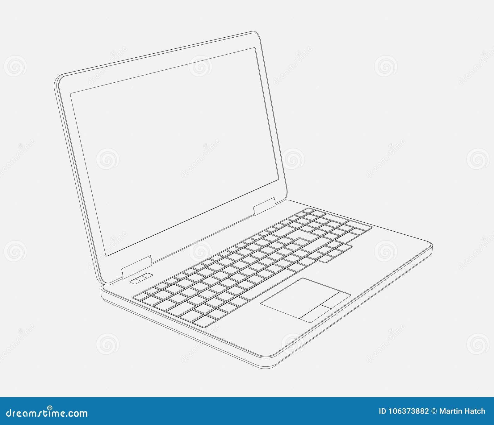 Dibujo 3d Del Ordenador Portatil Stock De Ilustracion Ilustracion