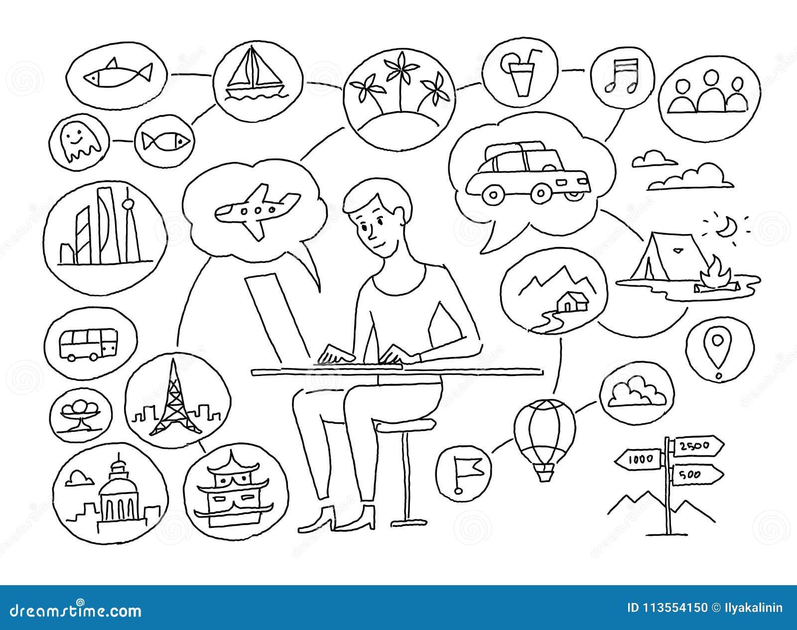Dibujo de bosquejo La muchacha está planeando viaje Agente de viajes Pensamientos sobre el camino, centro turístico plano del tra