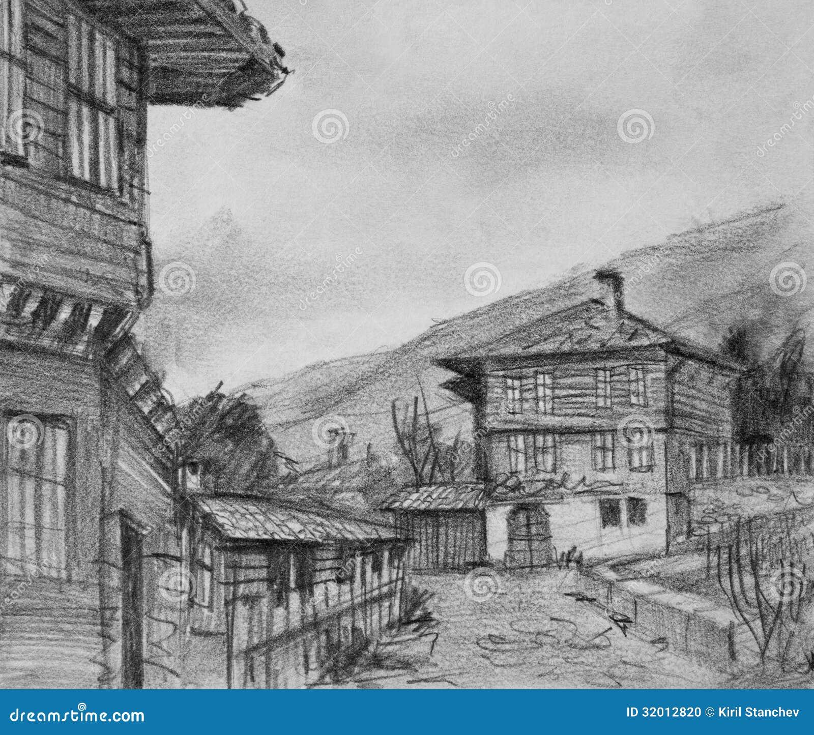 Dibujo de casas viejas tradicionales en kotel stock de ilustraci n ilustraci n de campo - Casas dibujadas a lapiz ...