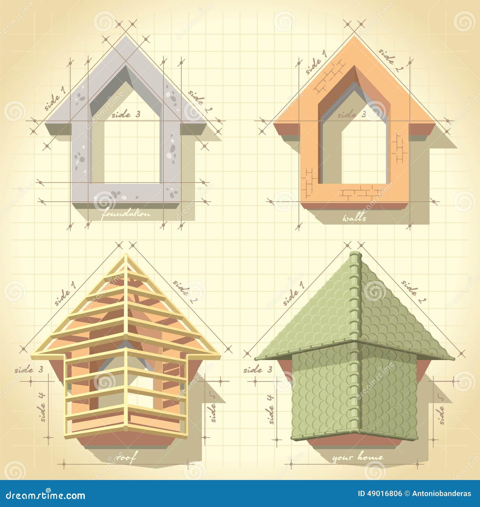 Dibujo De Construir Una Casa Ilustración del Vector - Ilustración de ...