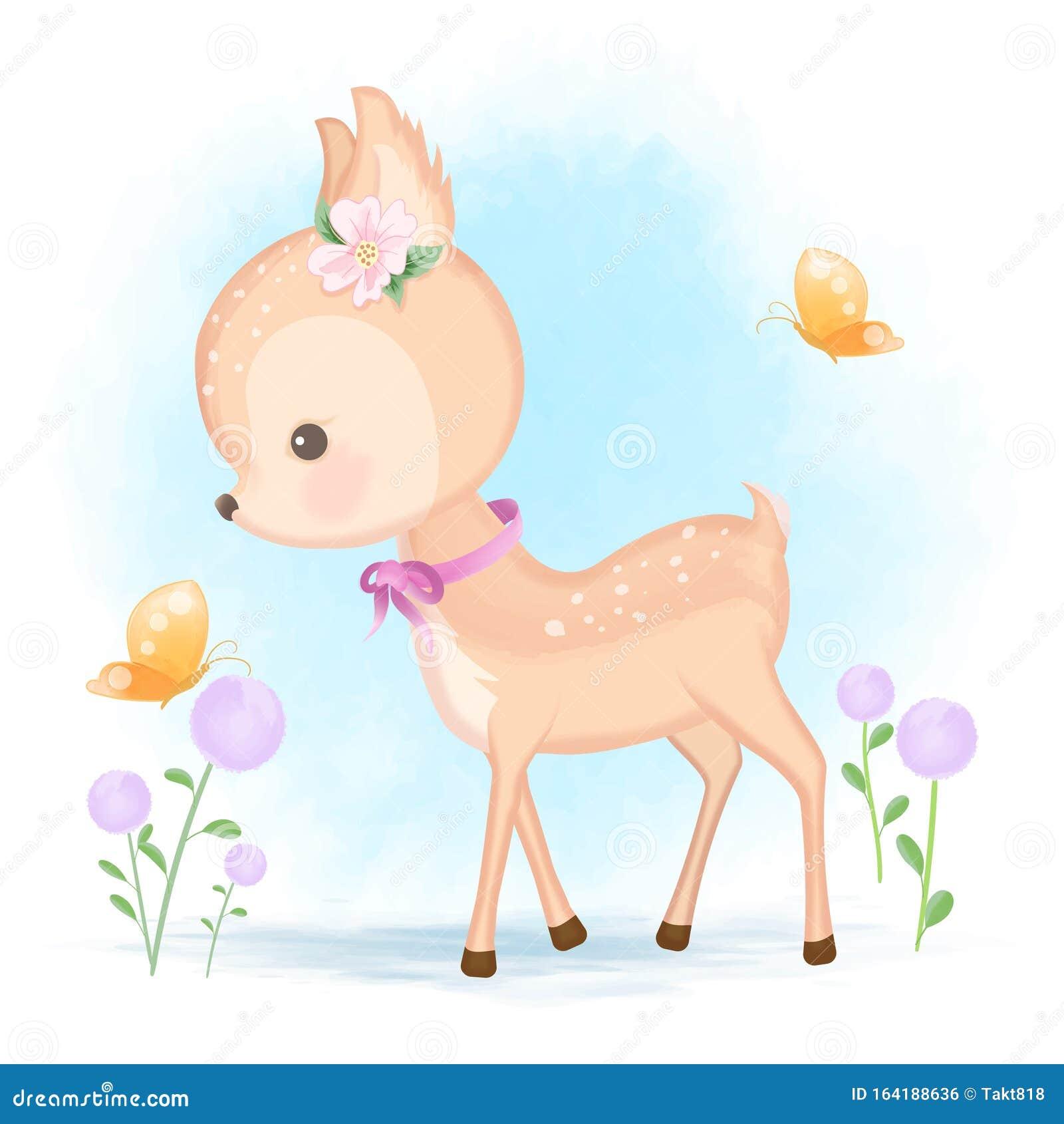 Dibujo De Dibujos Animados A Mano De Ciervos Bebés Y Mariposas Ilustración Del Vector Ilustración De Saludo Animal 164188636