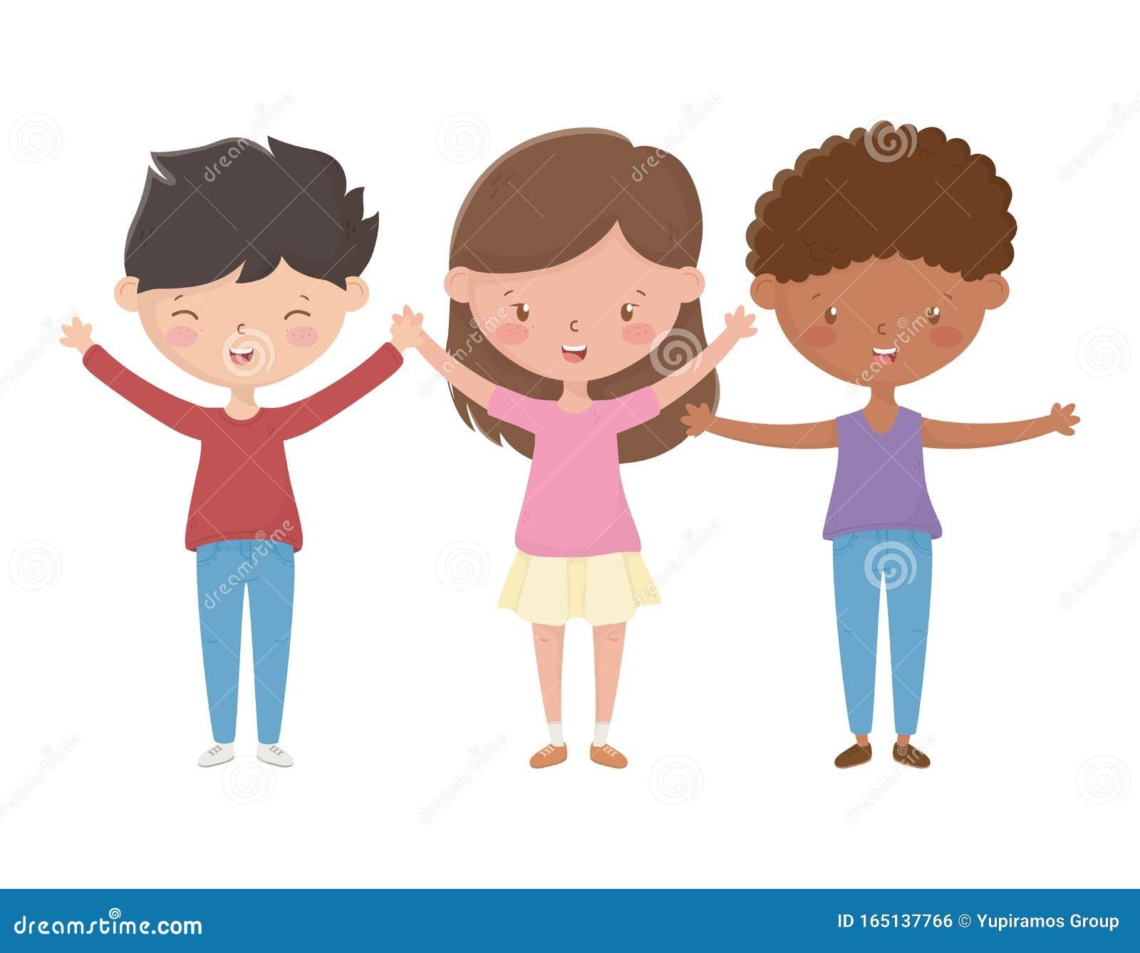 Dibujo De Dibujos Animados Para Niños Y Niñas Ilustración Del Vector Ilustración De Joven Lifestyle 165137766