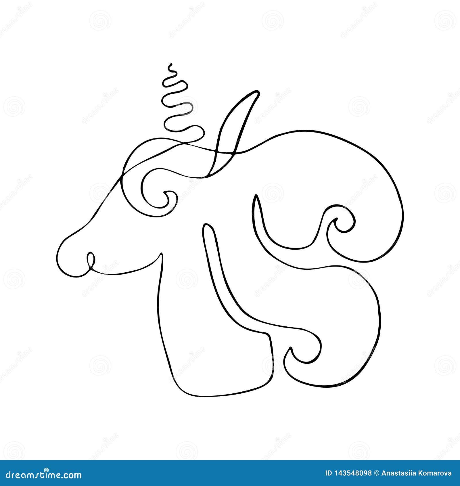 Dibujo de esquema de unicornios Silueta linear de la criatura fant?stica, animal m?stico