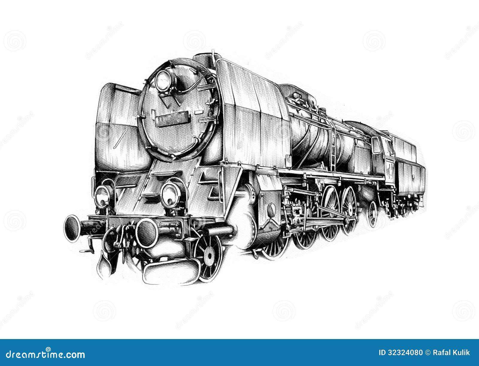 dibujo de estudio del arte del motor de vapor stock de