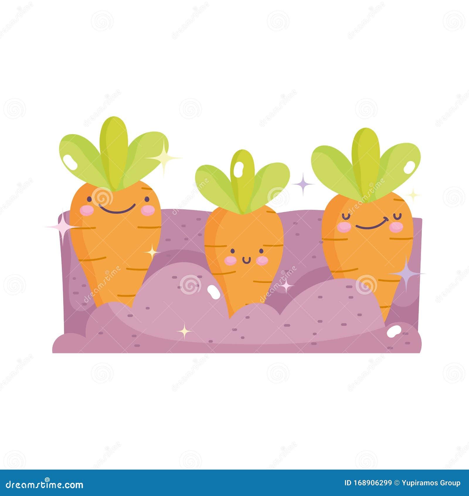 Dibujo De Kawaii Sobre Zanahorias Felices Plantadas Ilustracion Del Vector Ilustracion De Plantadas Felices 168906299 Hoy hemos preparado una colección de dibujos para y para finalizar, os dejamos el pdf del cuaderno de dibujos kawaii coloreables. dibujo de kawaii sobre zanahorias
