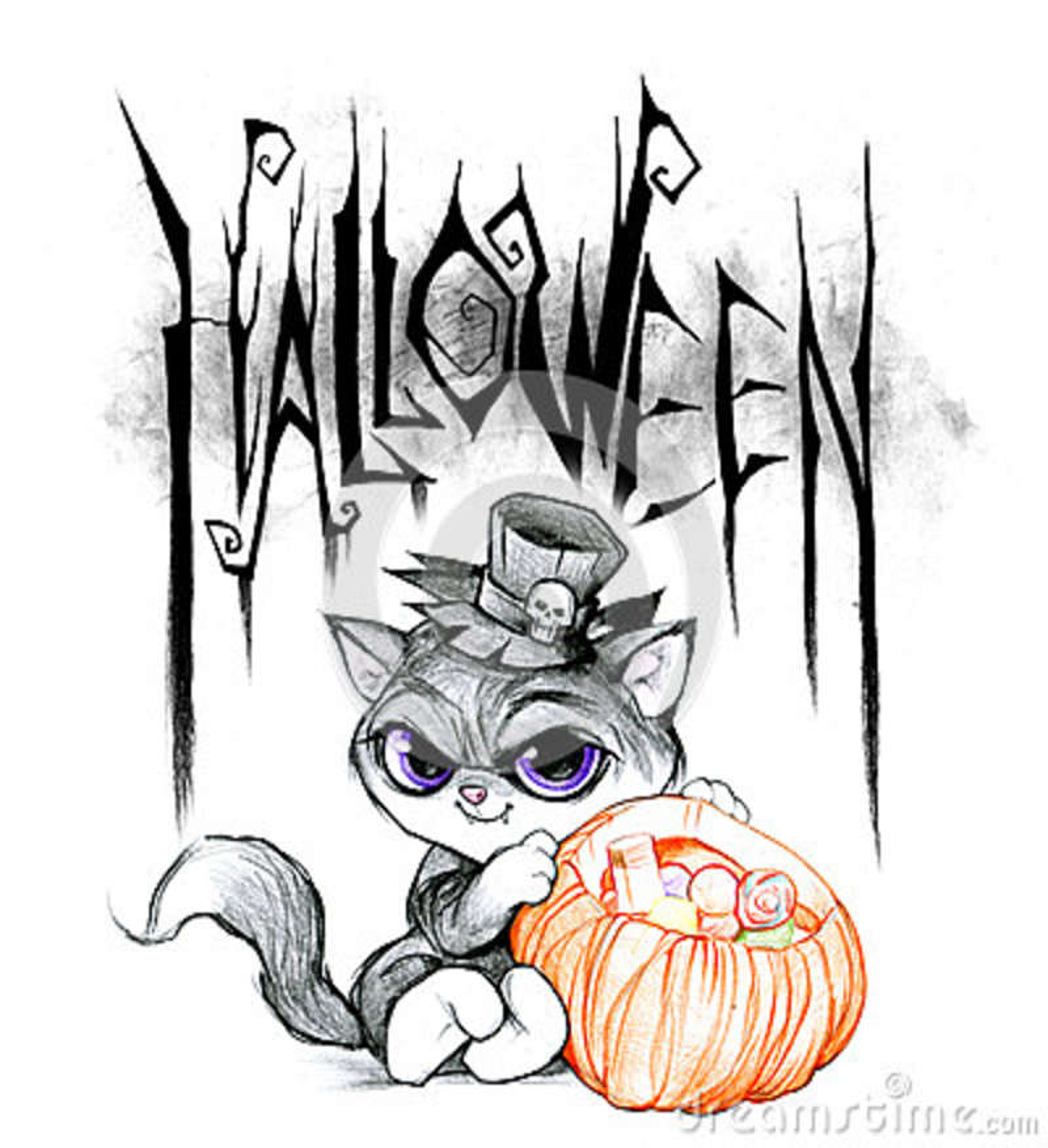 Dibujo De Lápiz De Un Título De Halloween Stock de ilustración ...