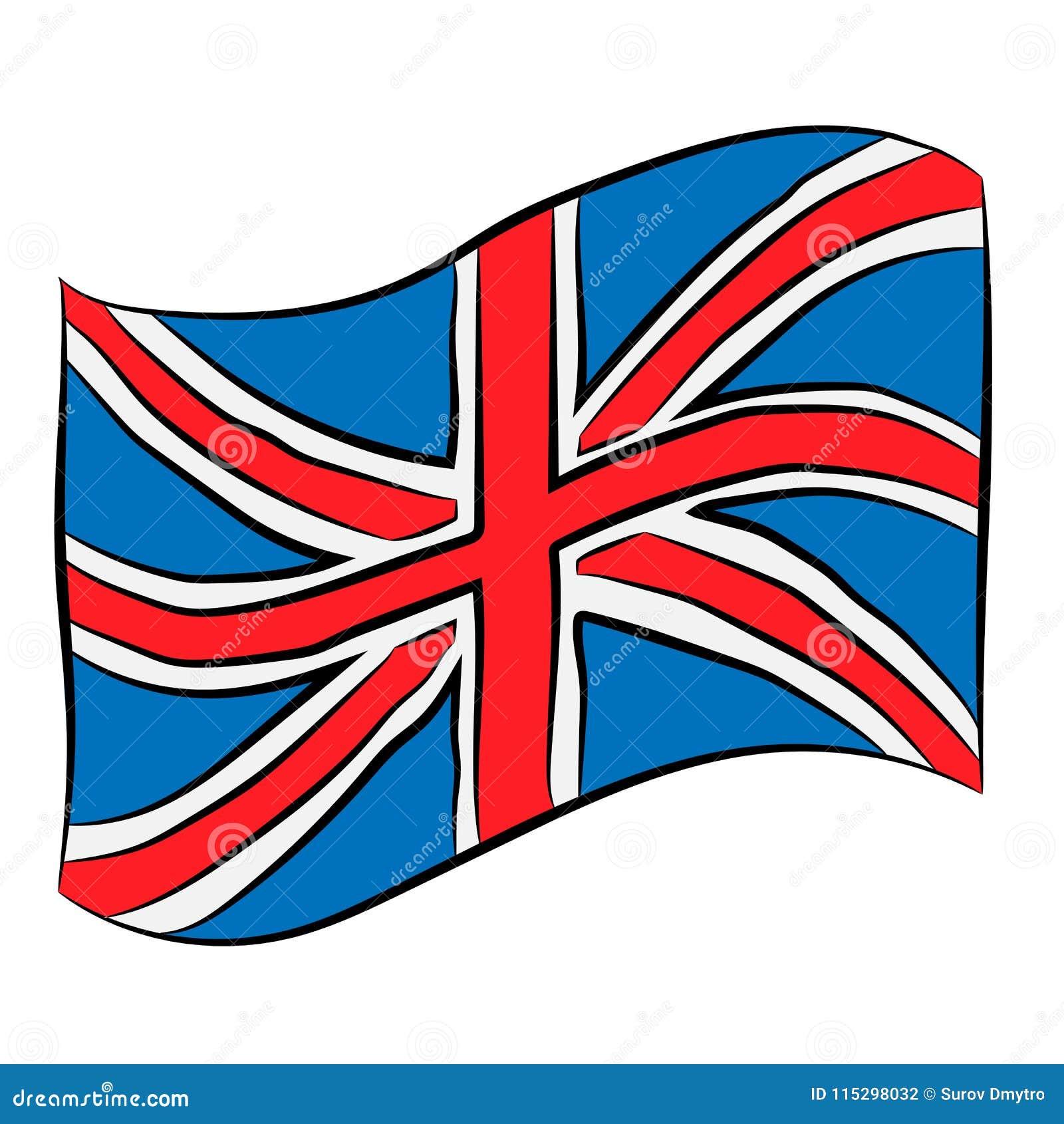 Dibujo De Lápiz De La Bandera De Reino Unido Stock De Ilustración