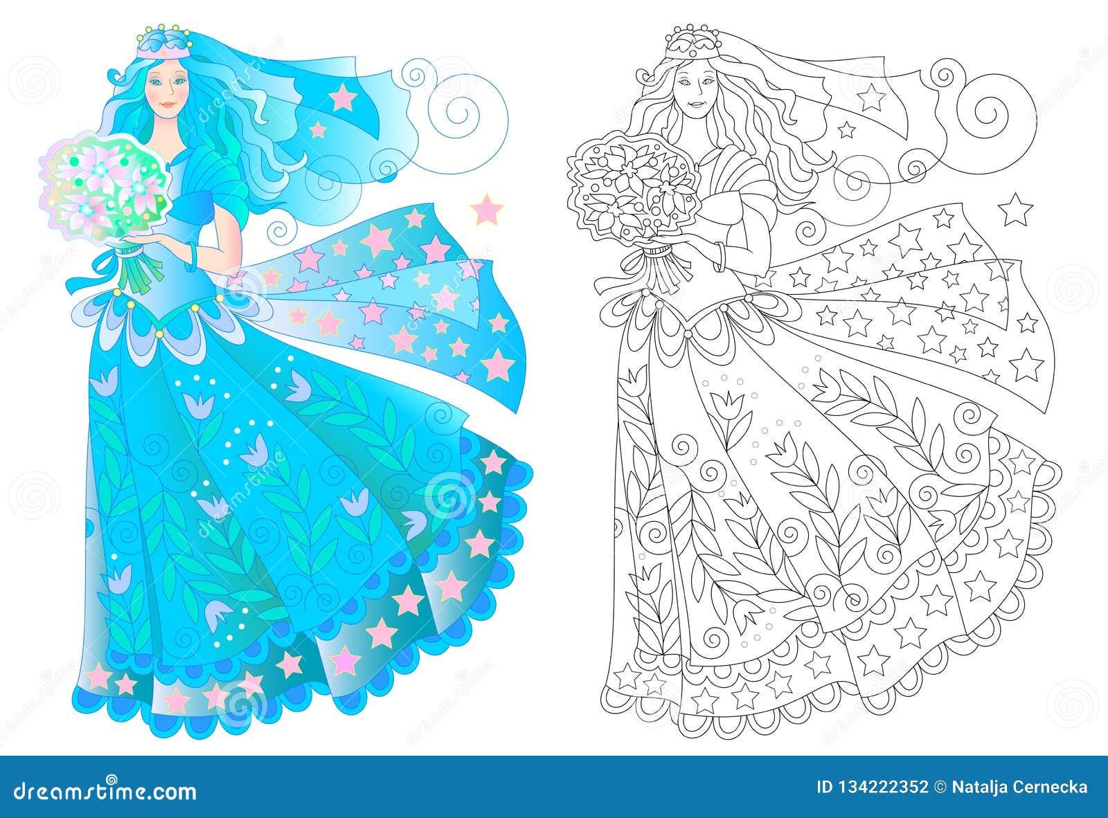 Dibujo De La Fantasía De La Muchacha Hermosa En Vestido Que Se Casa