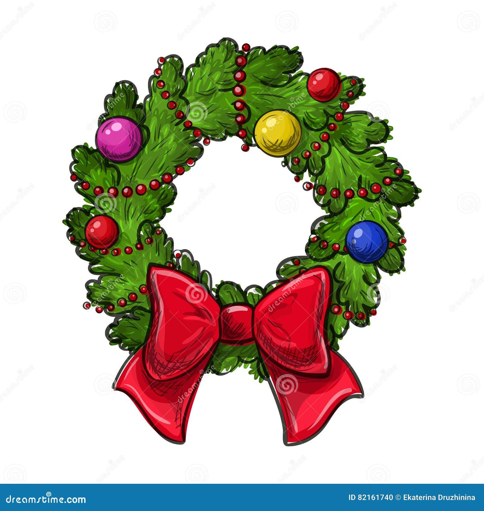 Dibujo de la guirnalda de la navidad ilustraci n del - Guirnalda de navidad ...