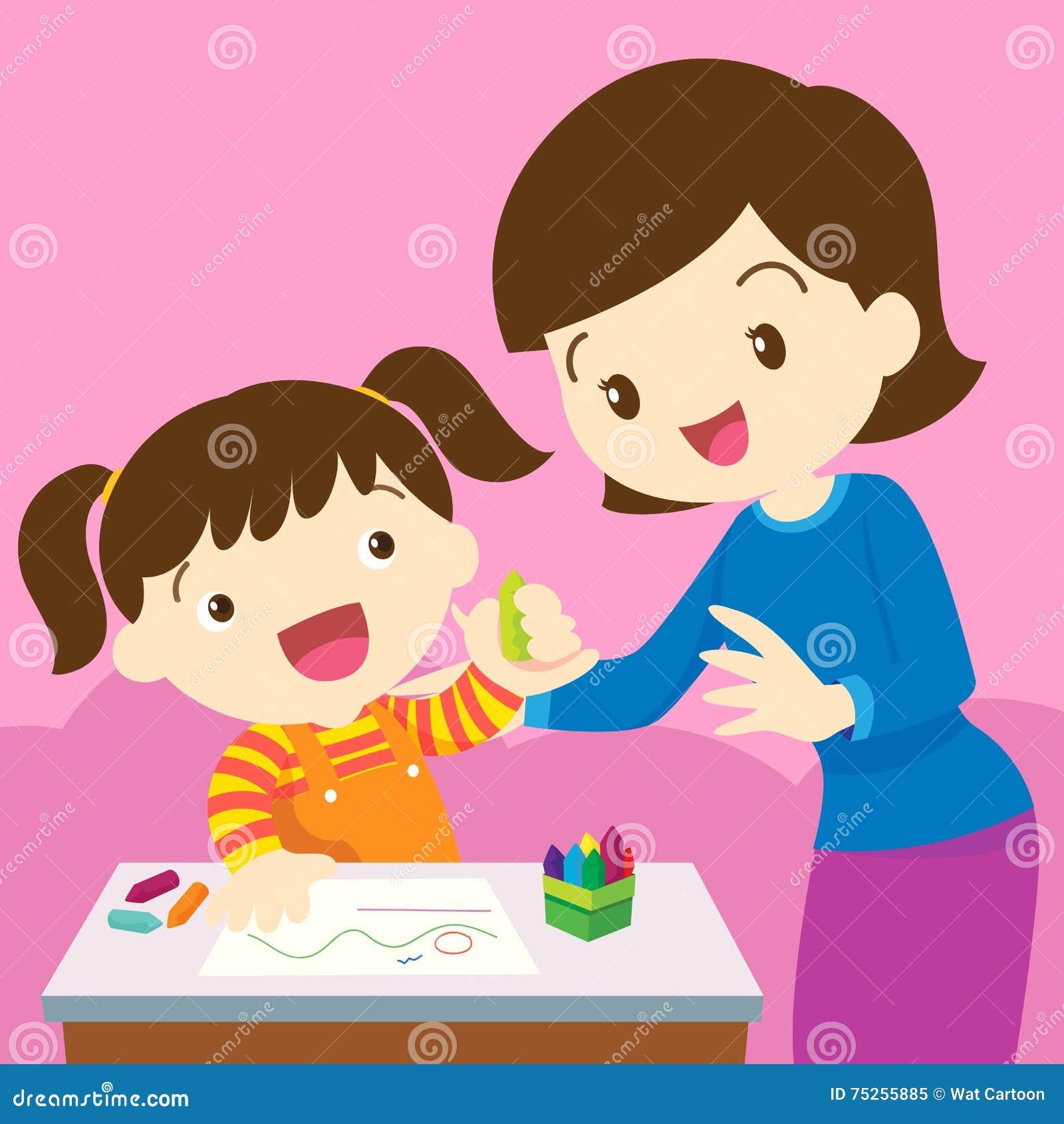 Dibujo De La Mamá Y Del Niño Ilustración Del Vector Ilustración De