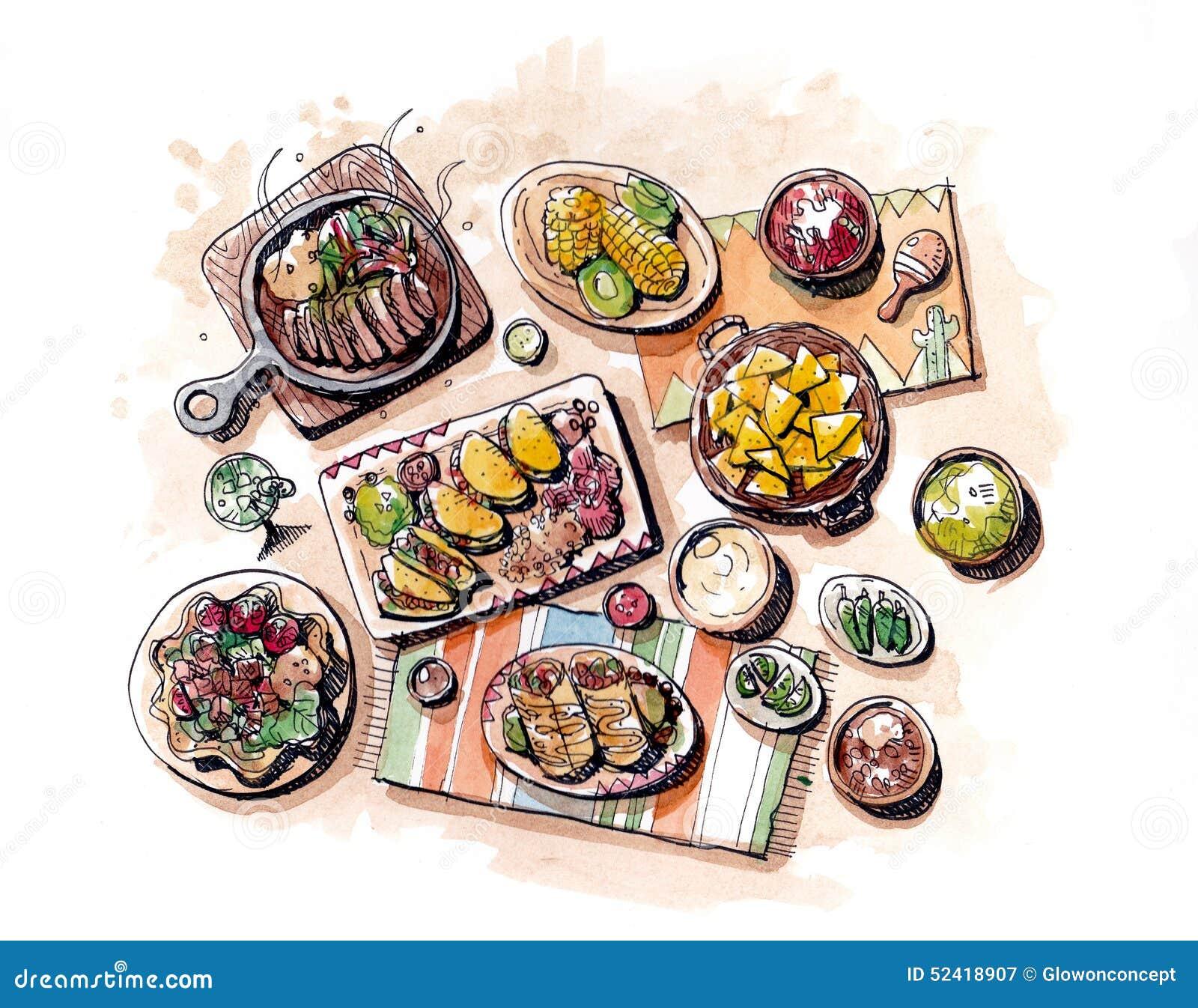 Dibujo de la mano de la comida y ejemplo mexicanos de la pintura del watercolour