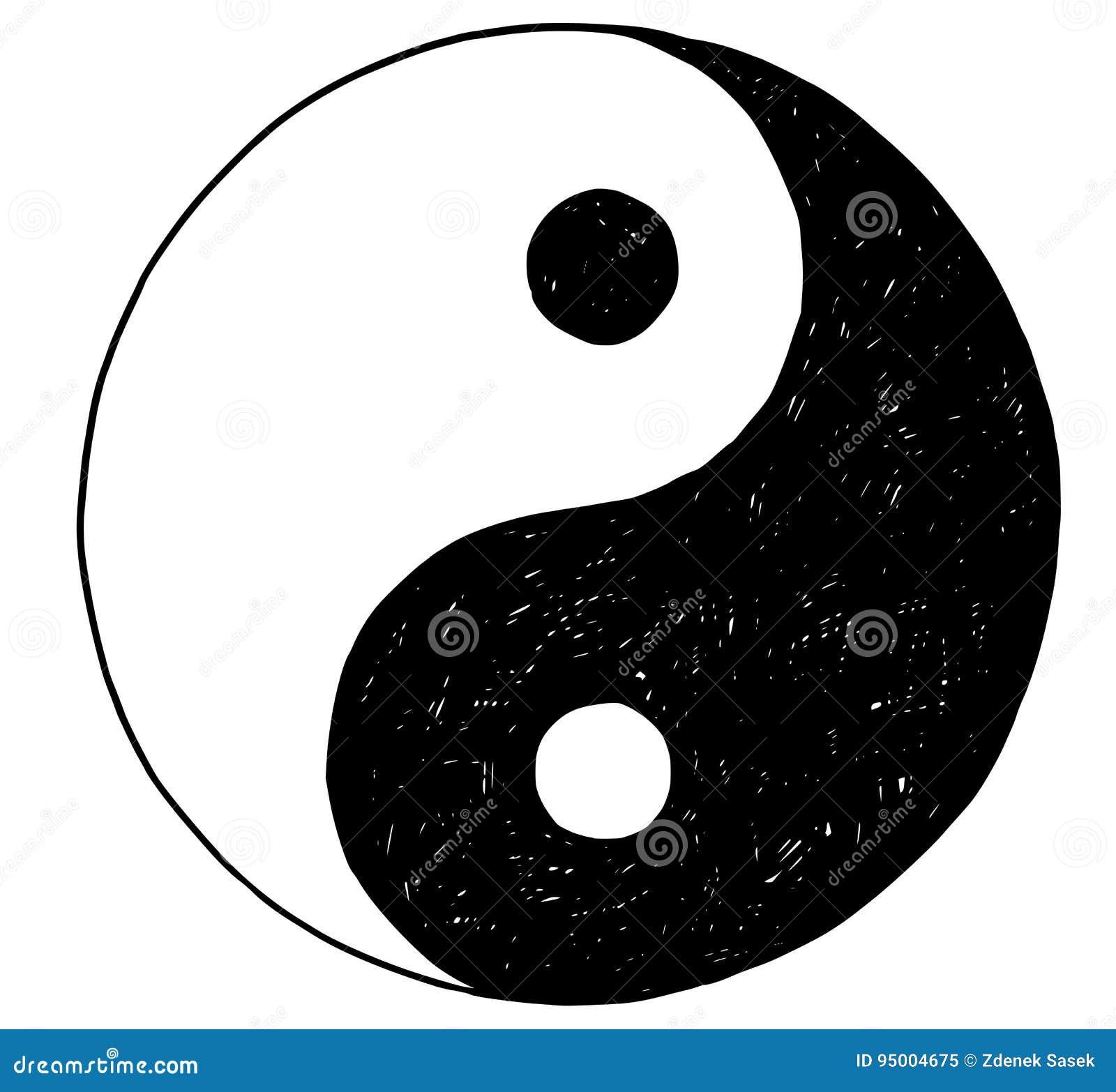 Dibujo De La Mano De Yin Yang Jin Jang Symbol Ilustración Del Vector