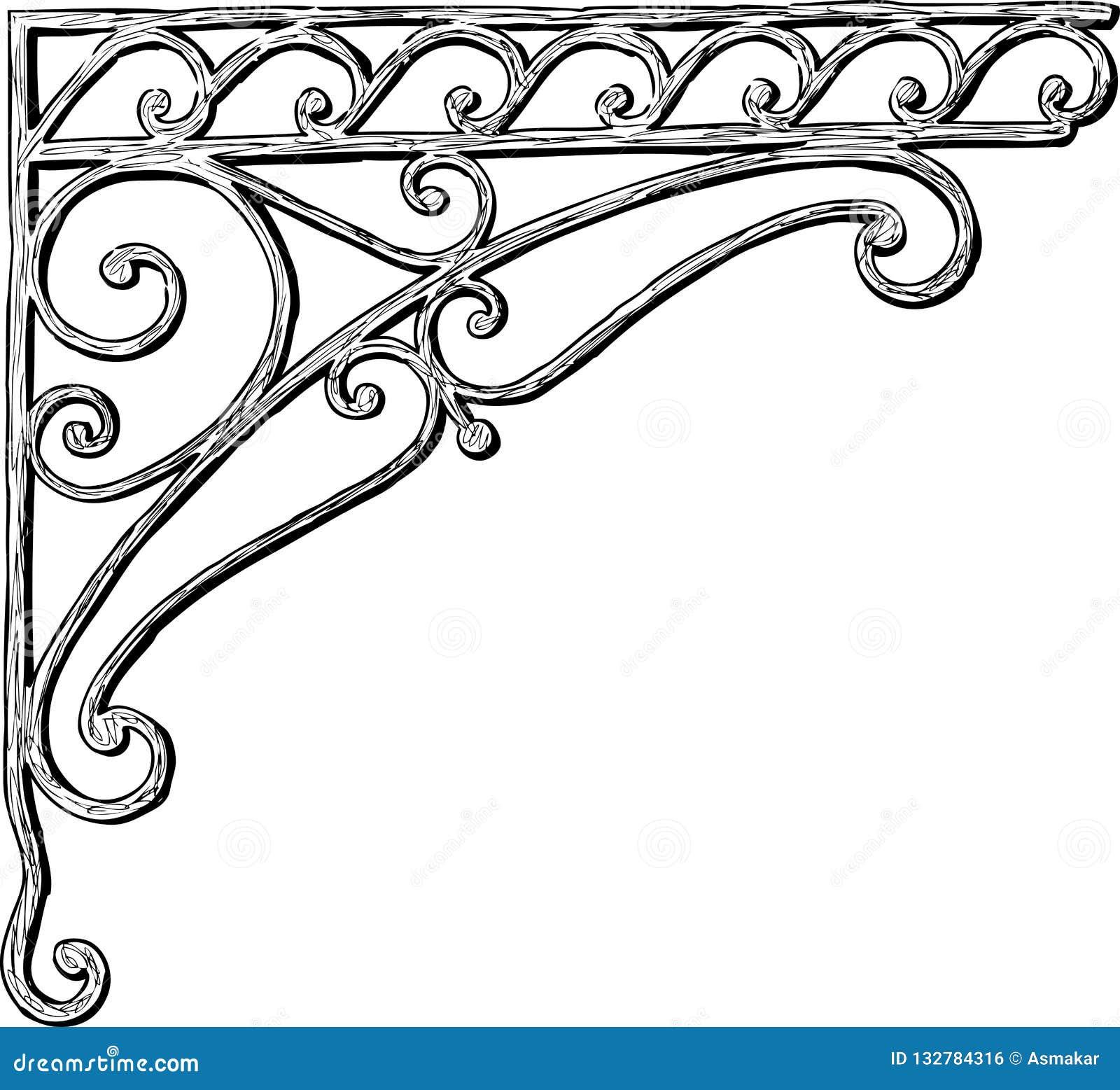 Dibujo de la mano de un detalle arquitectónico en forma de una esquina ornamental
