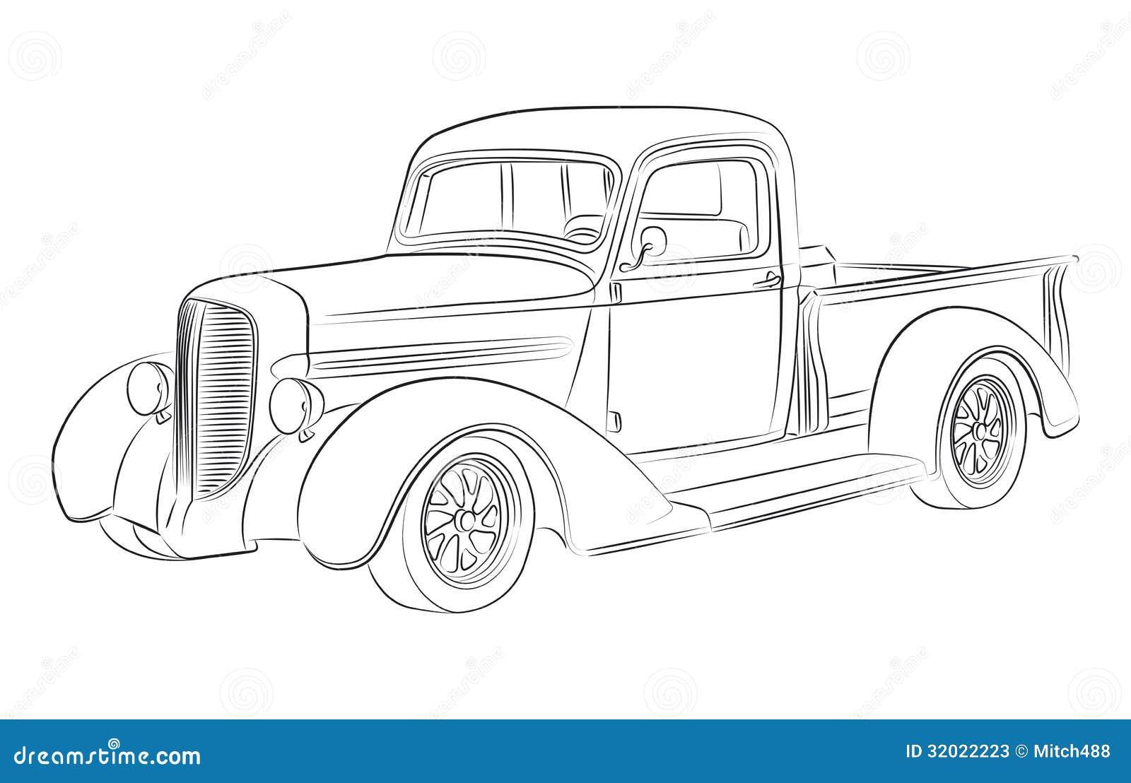 dibujo de la recogida de hotrod stock de ilustraci u00f3n