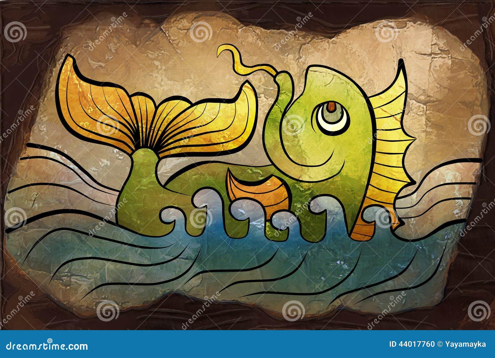 Dibujo de los pescados en la piedra stock de ilustraci n - Dibujos de piedras ...