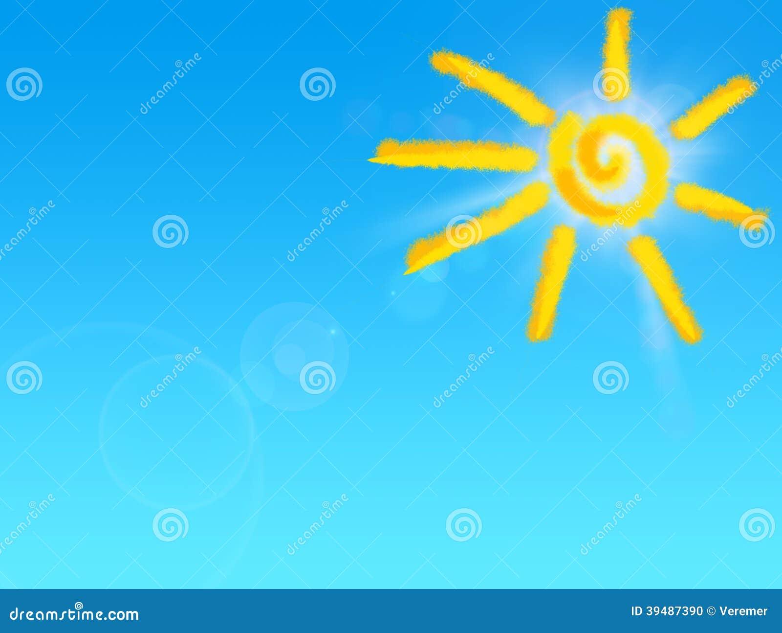 Dibujo De Sun En El Cielo Azul Stock De Ilustración Ilustración De