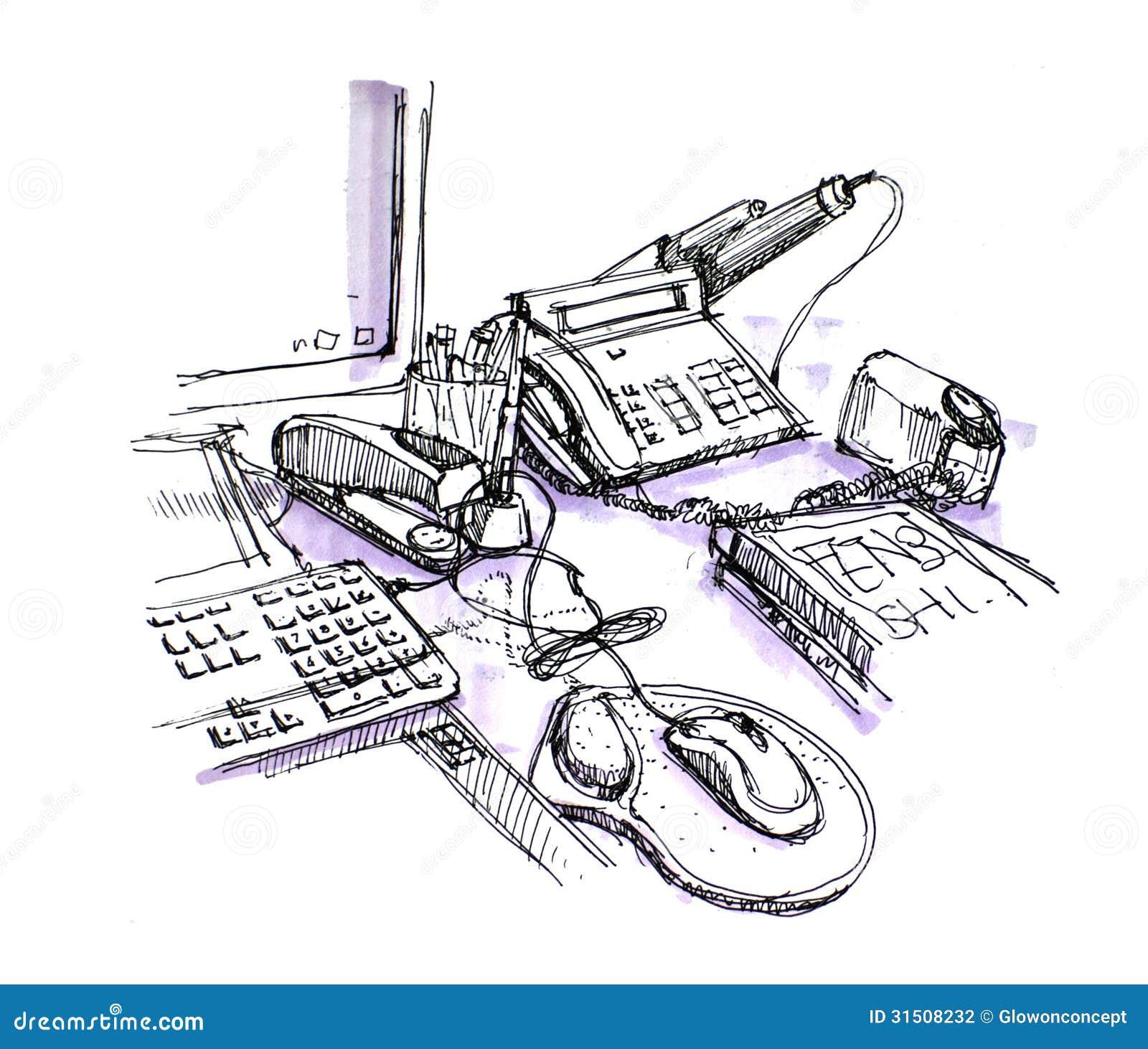 Dibujo de trabajo del espacio del escritorio de la oficina for Telefono oficina de empleo madrid