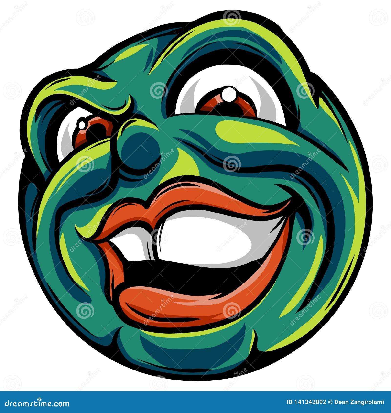 Dibujo de un emoticon con una cara malvada