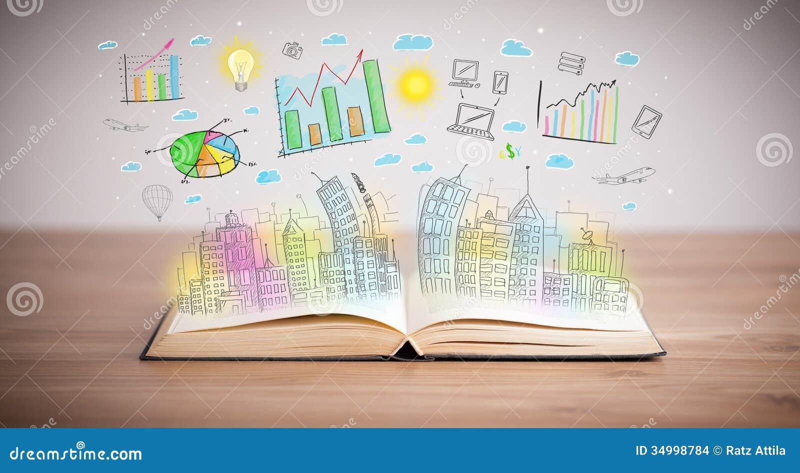 dibujo de un esquema del negocio en un libro abierto