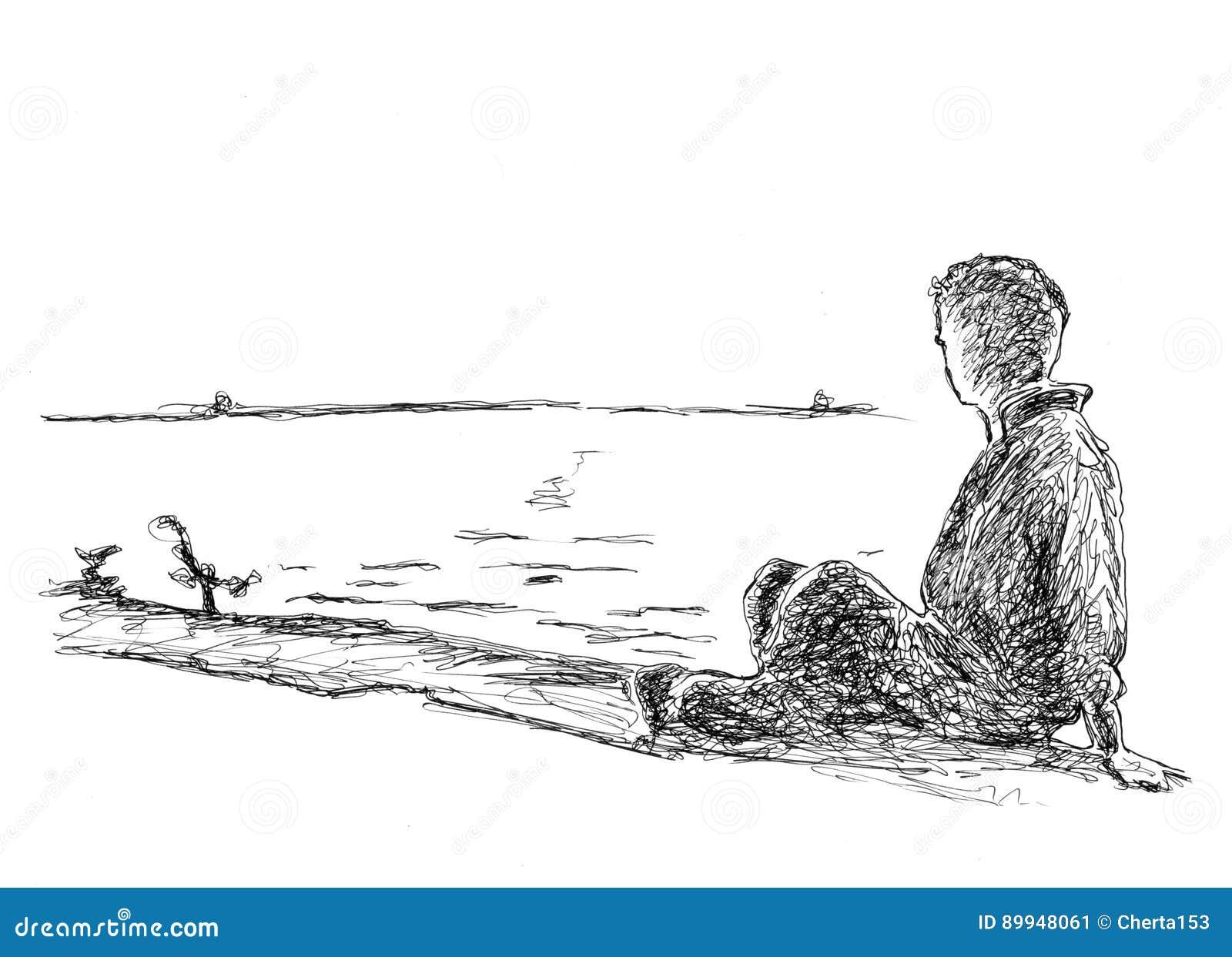 Fotos En La Playa Hombre: Dibujo De Un Hombre En La Playa Stock De Ilustración