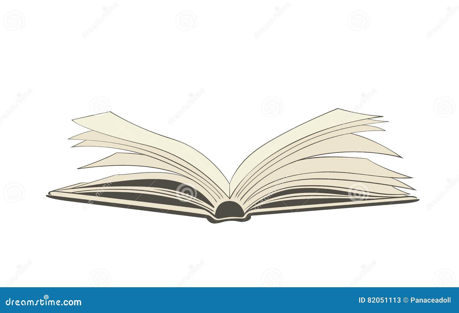 Dibujo De Un Libro Abierto Stock De Ilustración