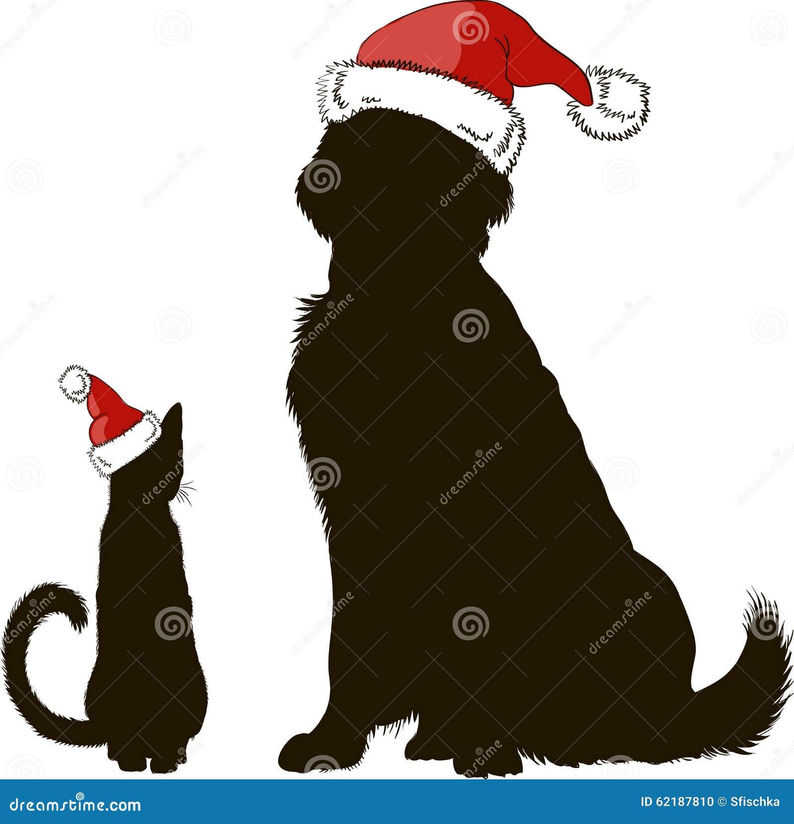 Dibujo de un perro y de un gato en siluetas de los sombreros de la Navidad