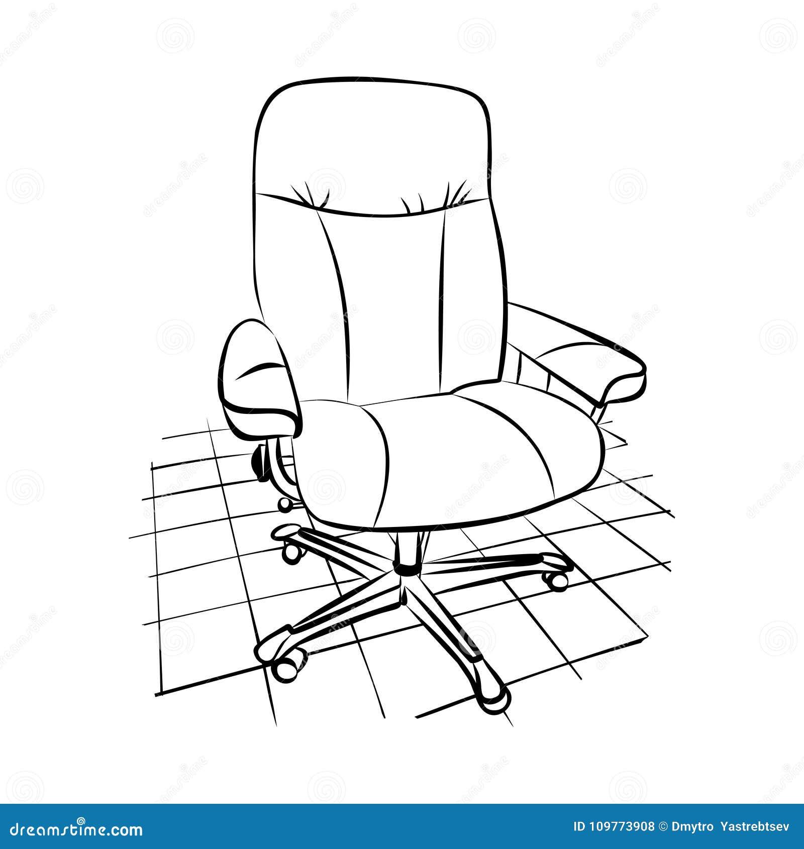 Dibujo de una silla de la oficina en un piso tejado for Dibujo de una oficina moderna