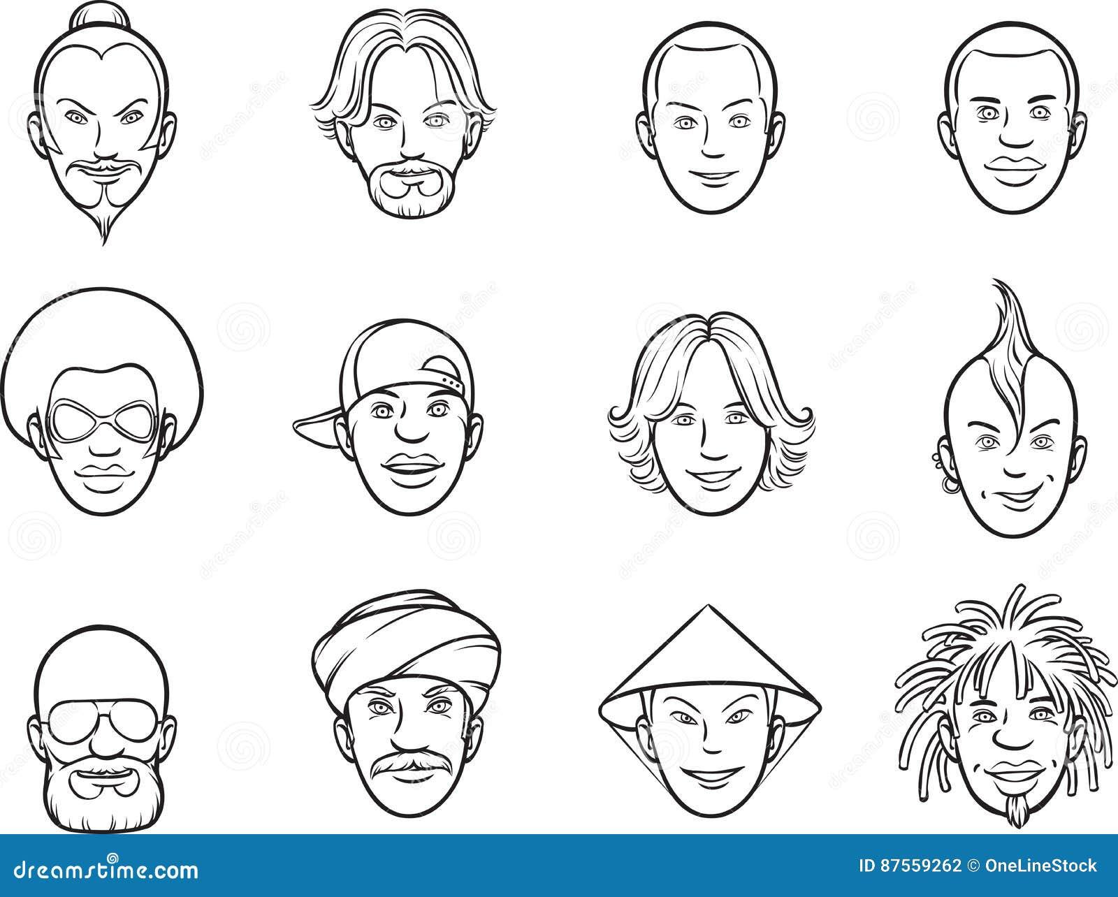 Dibujo De Whiteboard - Caras Del Excéntrico Del Avatar De La ...