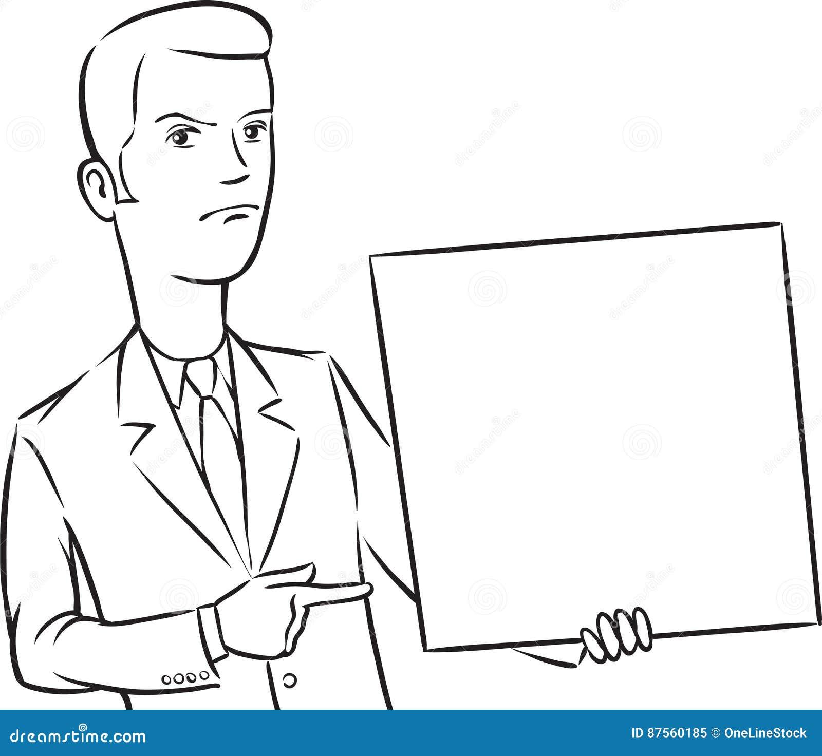 Dibujo De Whiteboard El Señalar Enojado Del Hombre De